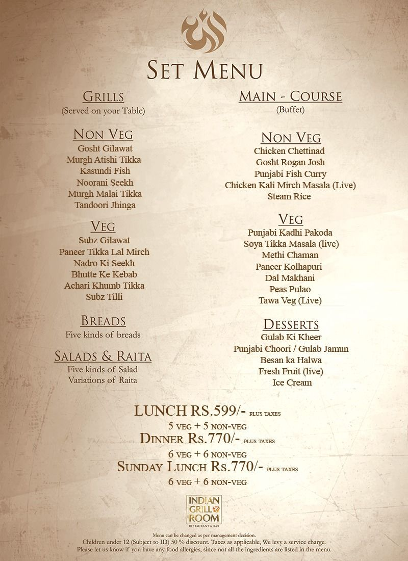 Indian Grill Room Menu 1