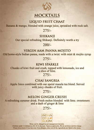 Indian Grill Room Menu 11
