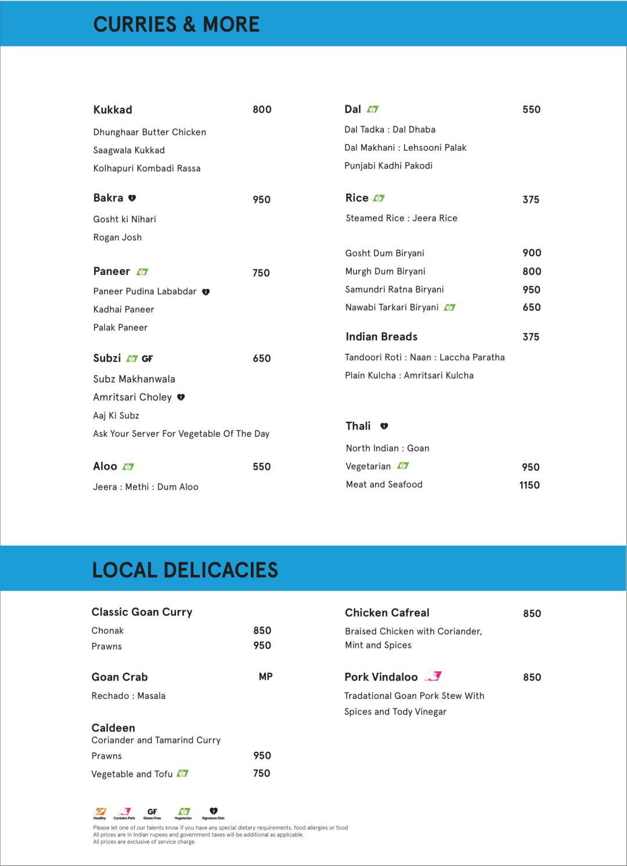Menu For The Kitchen Table W Goa Goa