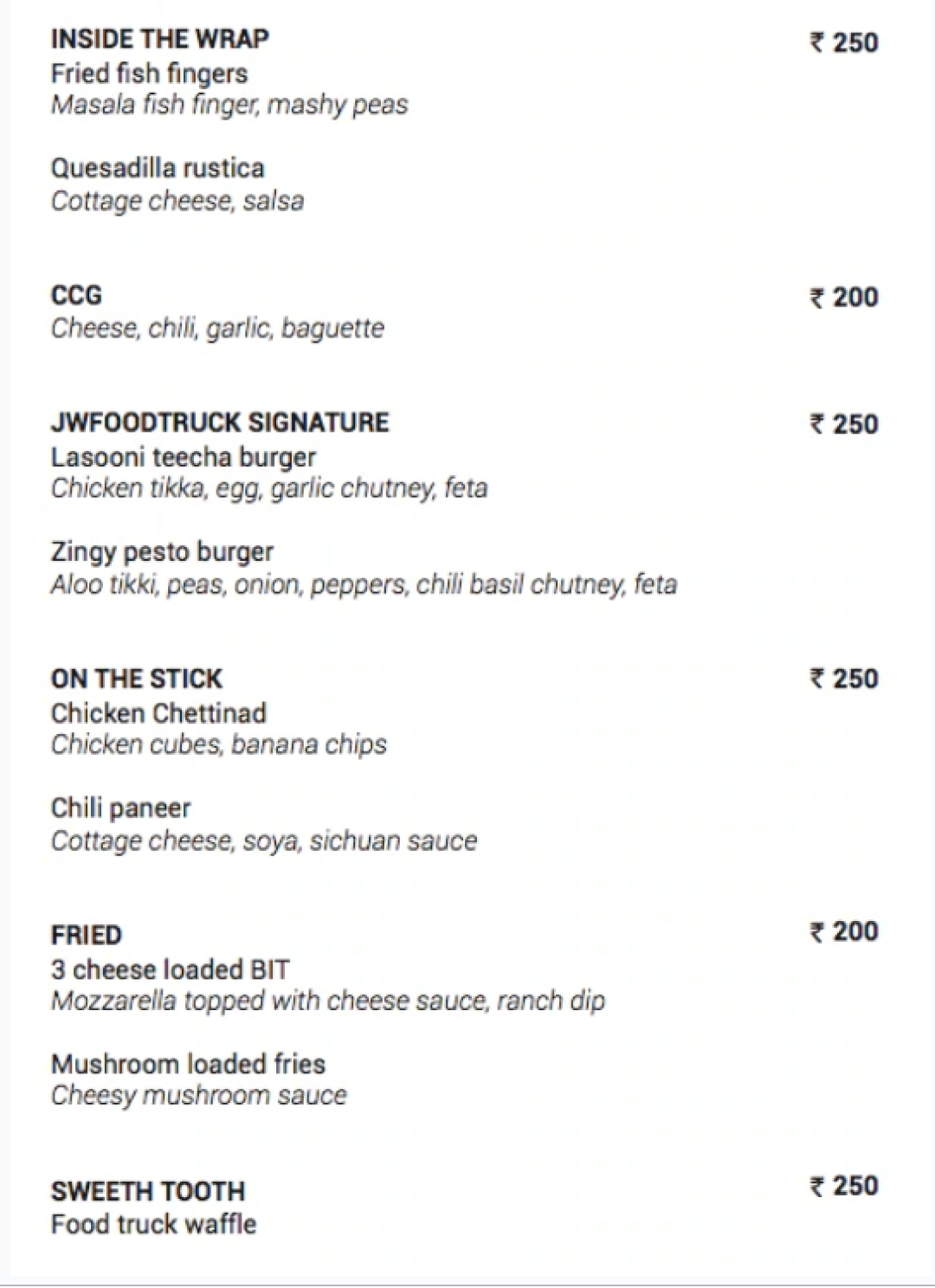 Jw Food Truck Menu Menu For Jw Food Truck Jw Marriott Hotel Pune Pune