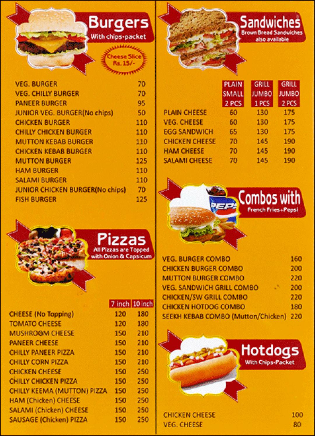 Menu For Kent S Fast Food Defence Colony South Delhi Delhi Ncr