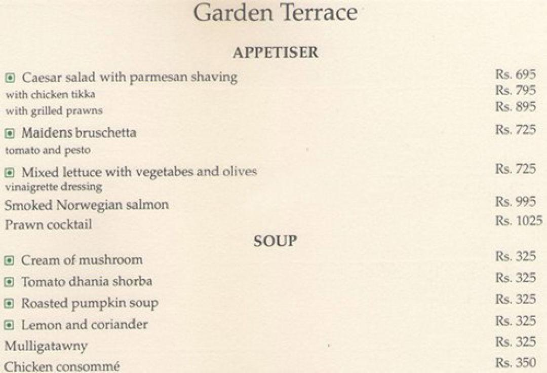 Menu For The Garden Terrace Maidens Hotel New Delhi Delhi Ncr