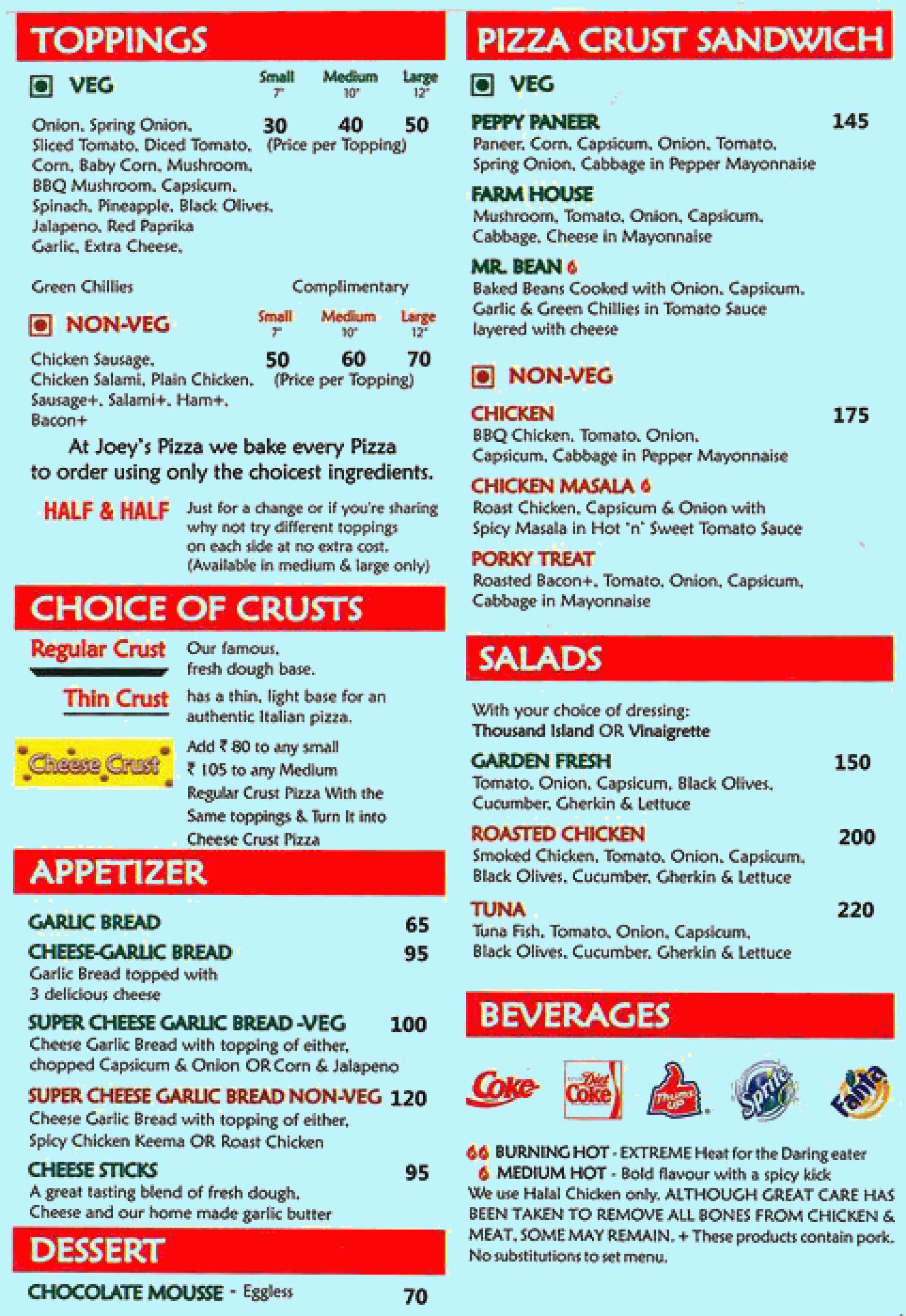Menu of Joey\'s Pizza, Malad West, Western Suburbs, Mumbai | EazyDiner