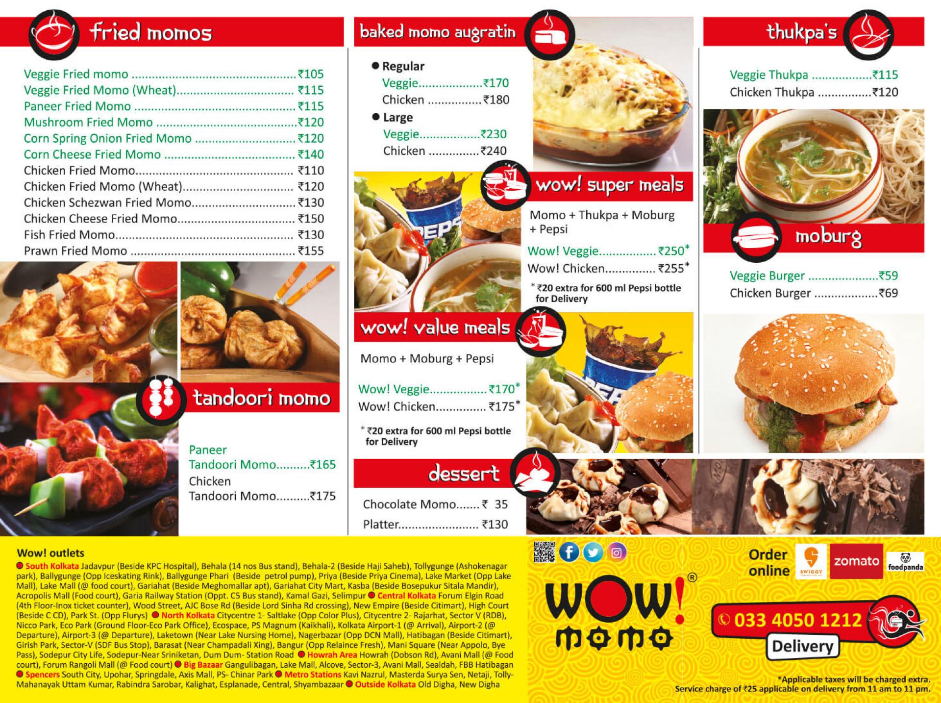Menu of the Wow! Momo