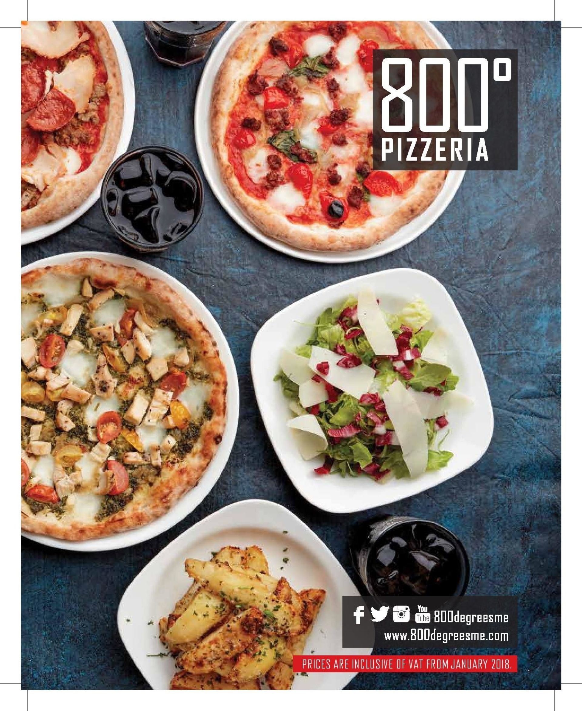 Menu of the 800 Degrees Neapolitan Pizzeria