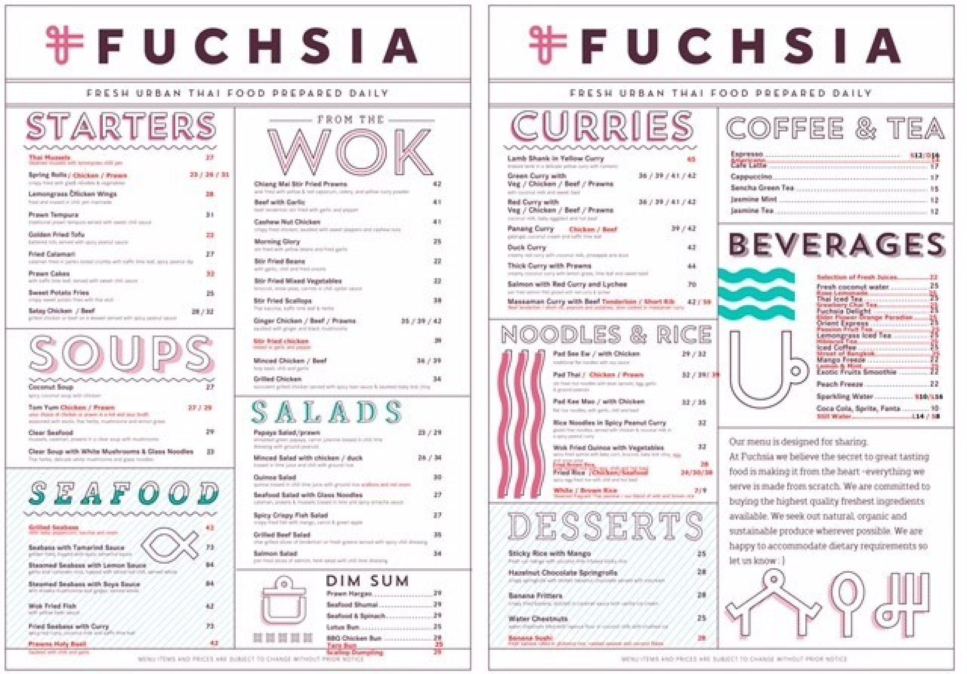 Menu of the Fuchsia