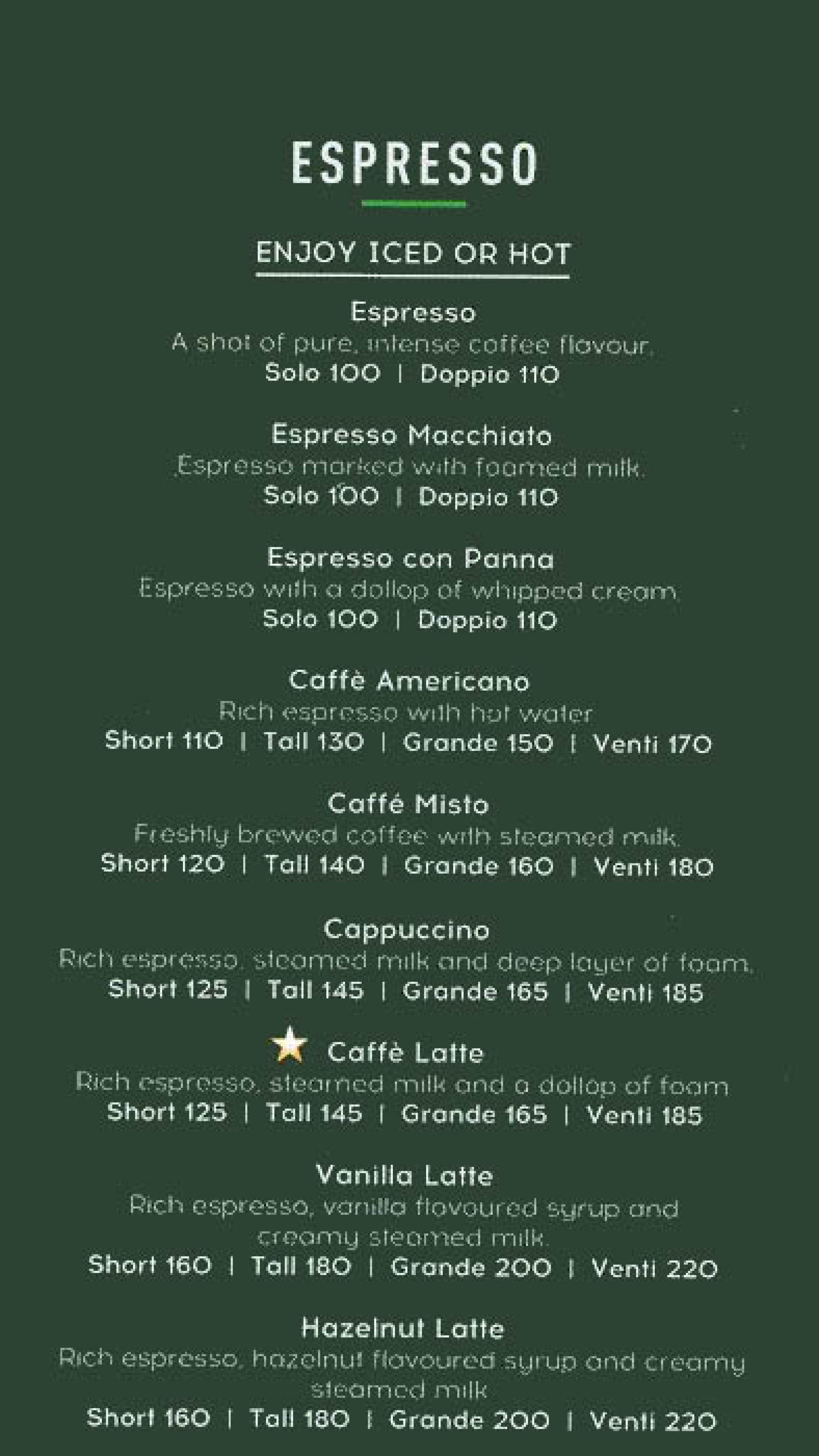 Menu of Starbucks Coffee, Viviana Mall, Majiwada, Mumbai ...