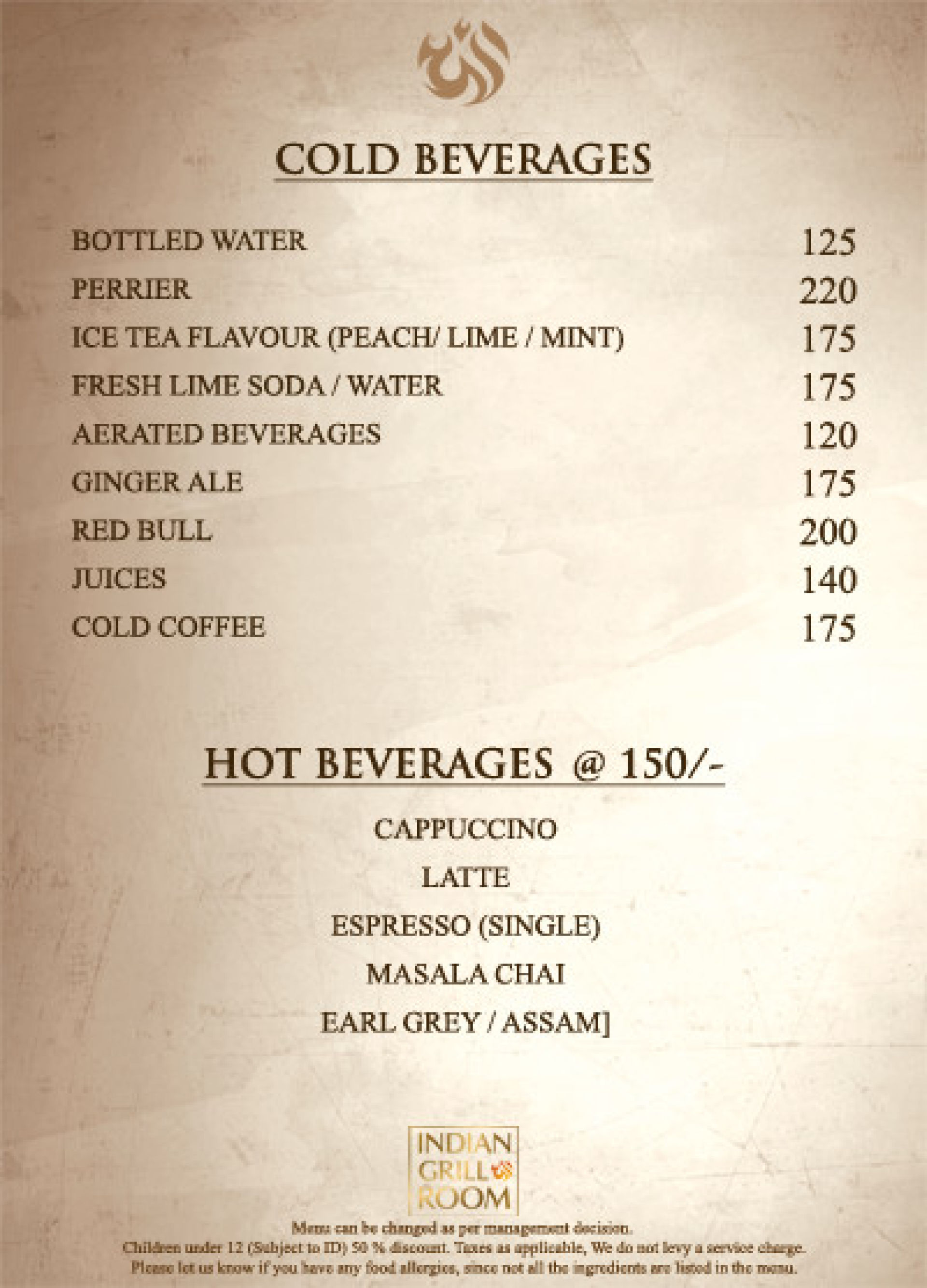 Menu of the Indian Grill Room