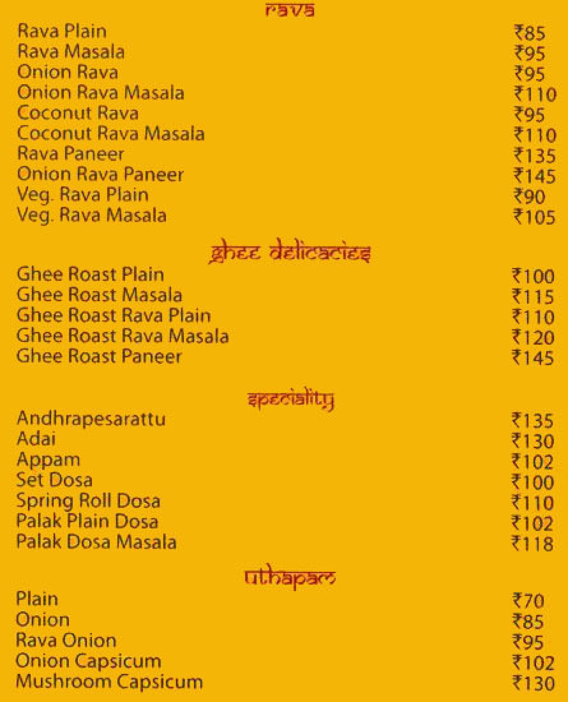 Menu of the Karnataka