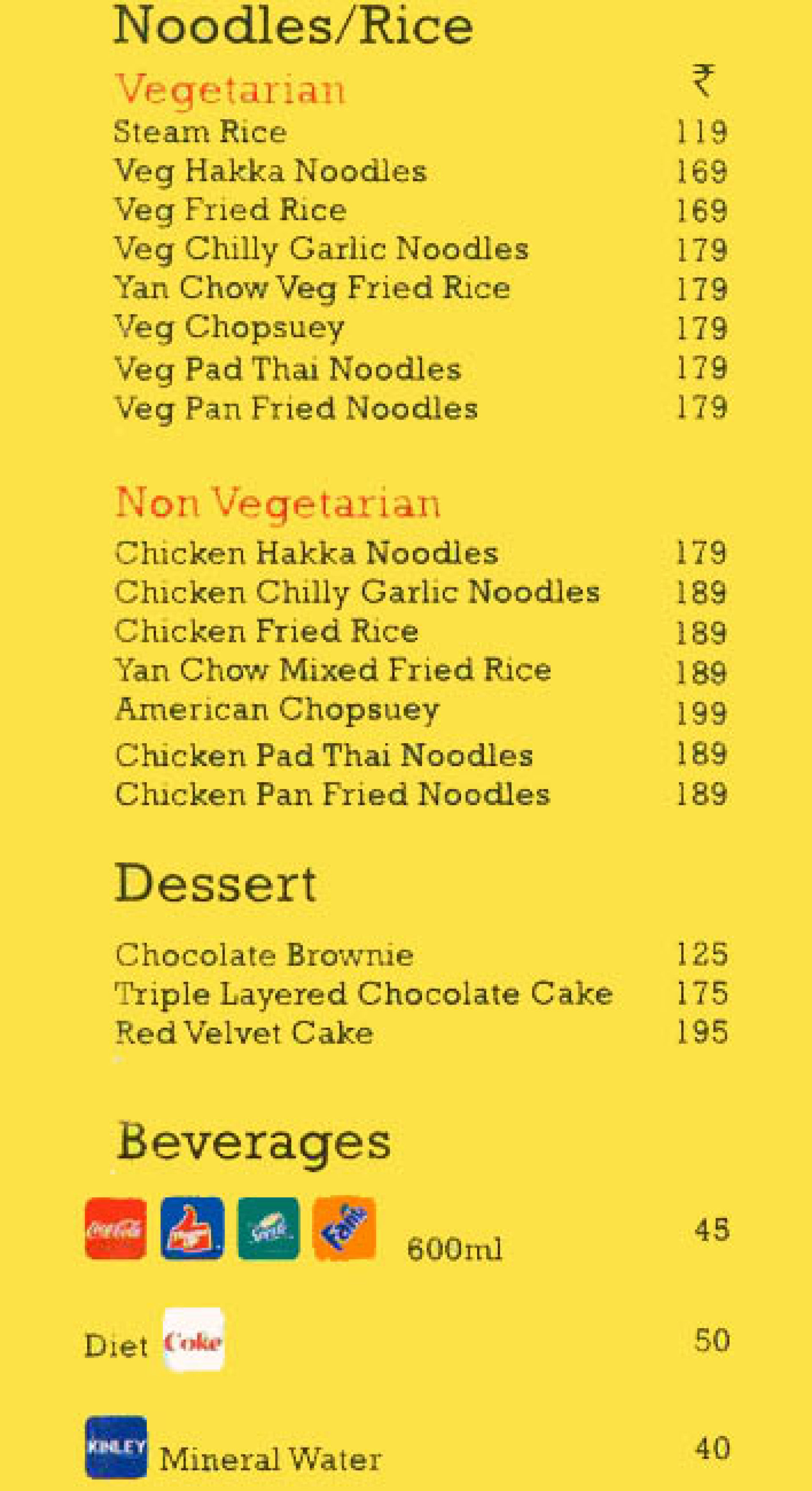Menu of the Yo! China Cafe