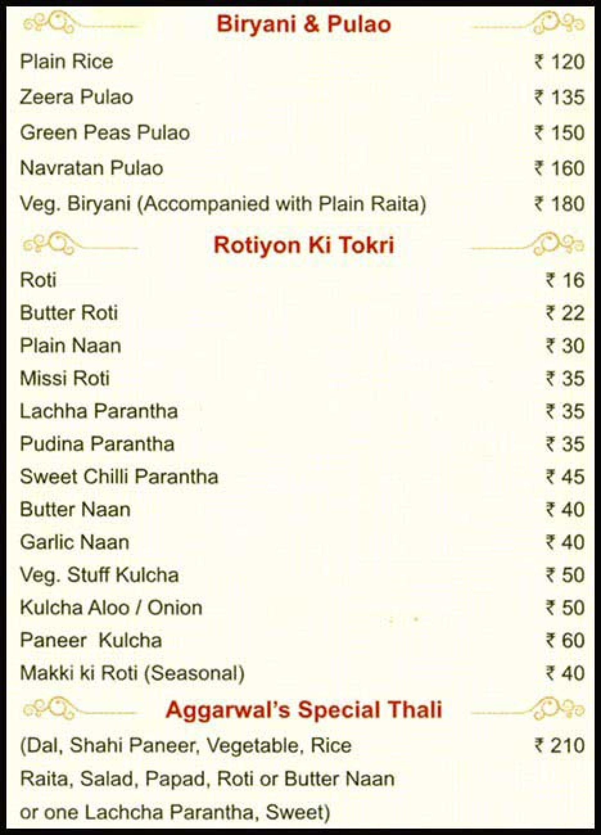 Menu of the Aggarwal Restaurant