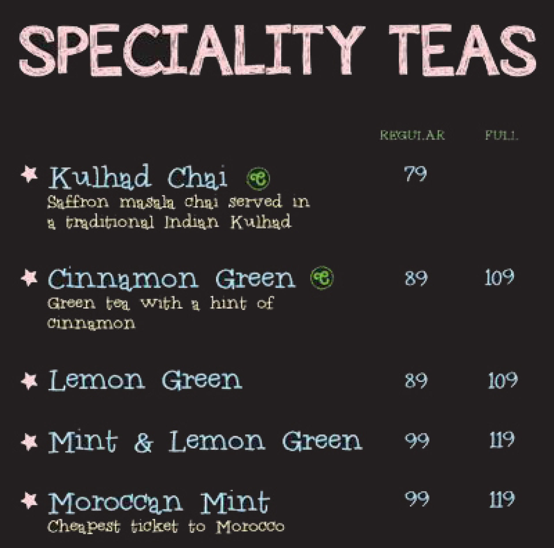 Menu of the Chaayos