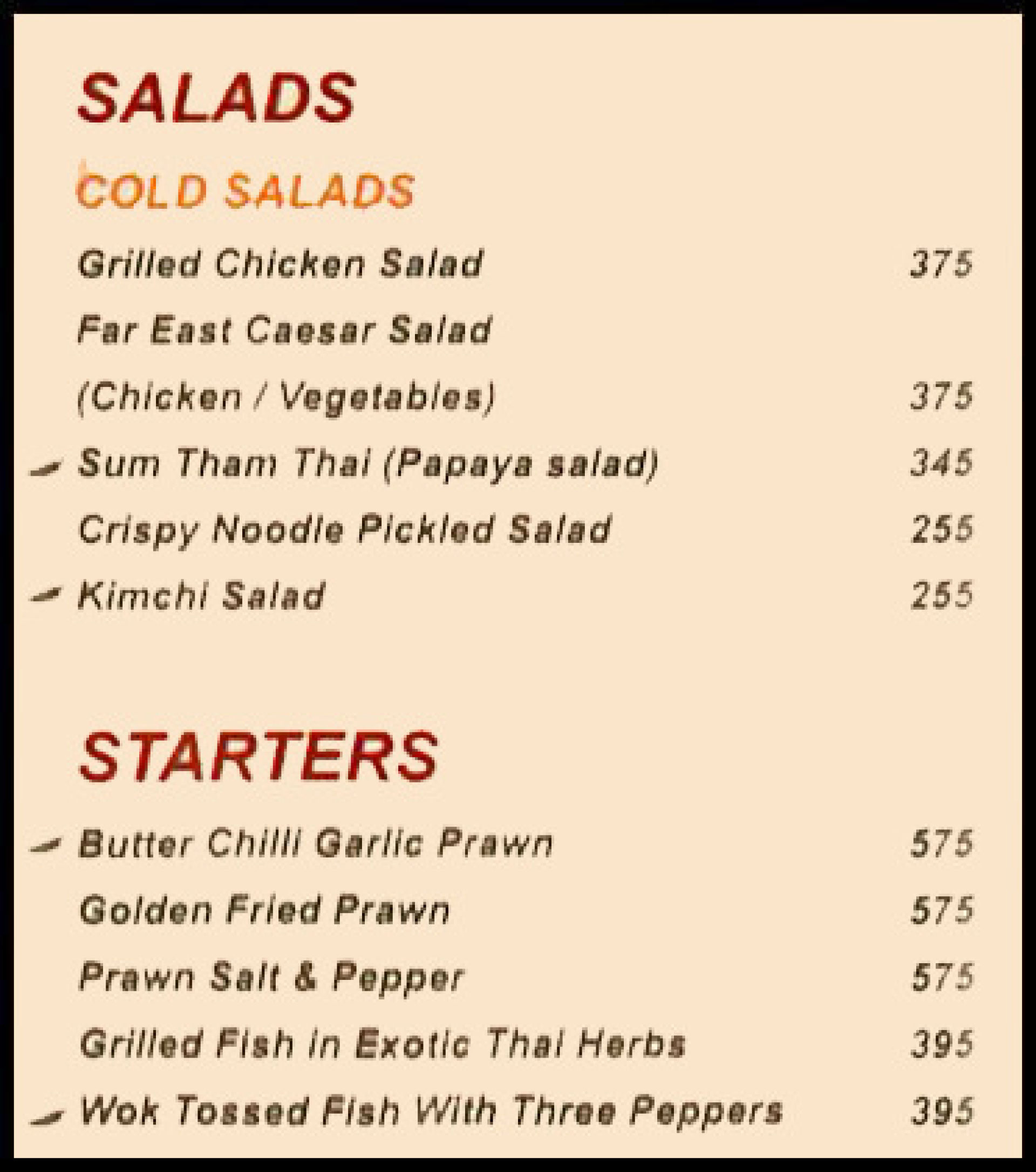 Menu of the Asia Kitchen