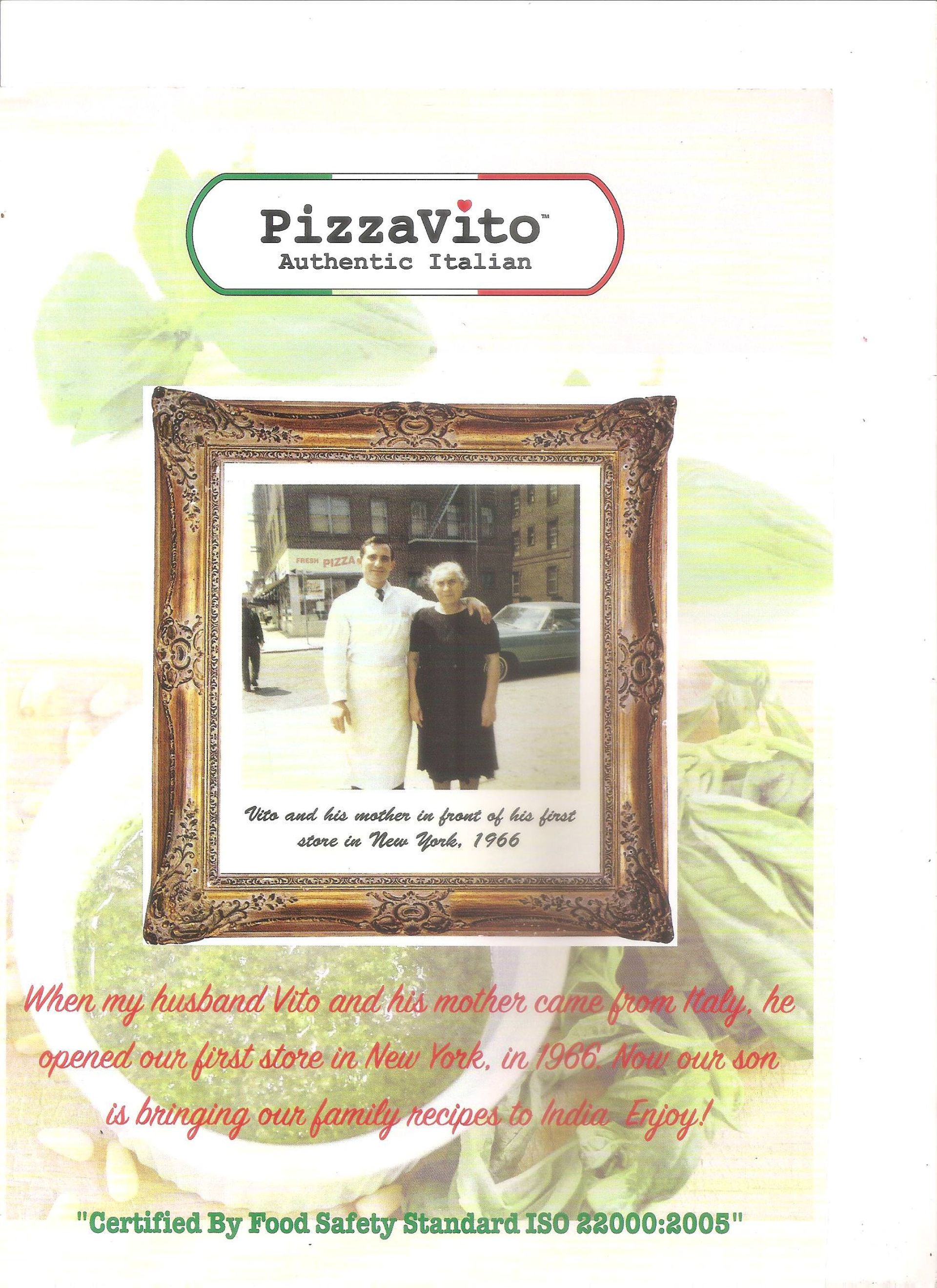 Menu of the PizzaVito