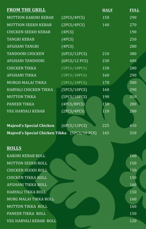 Menu of the Majeed's