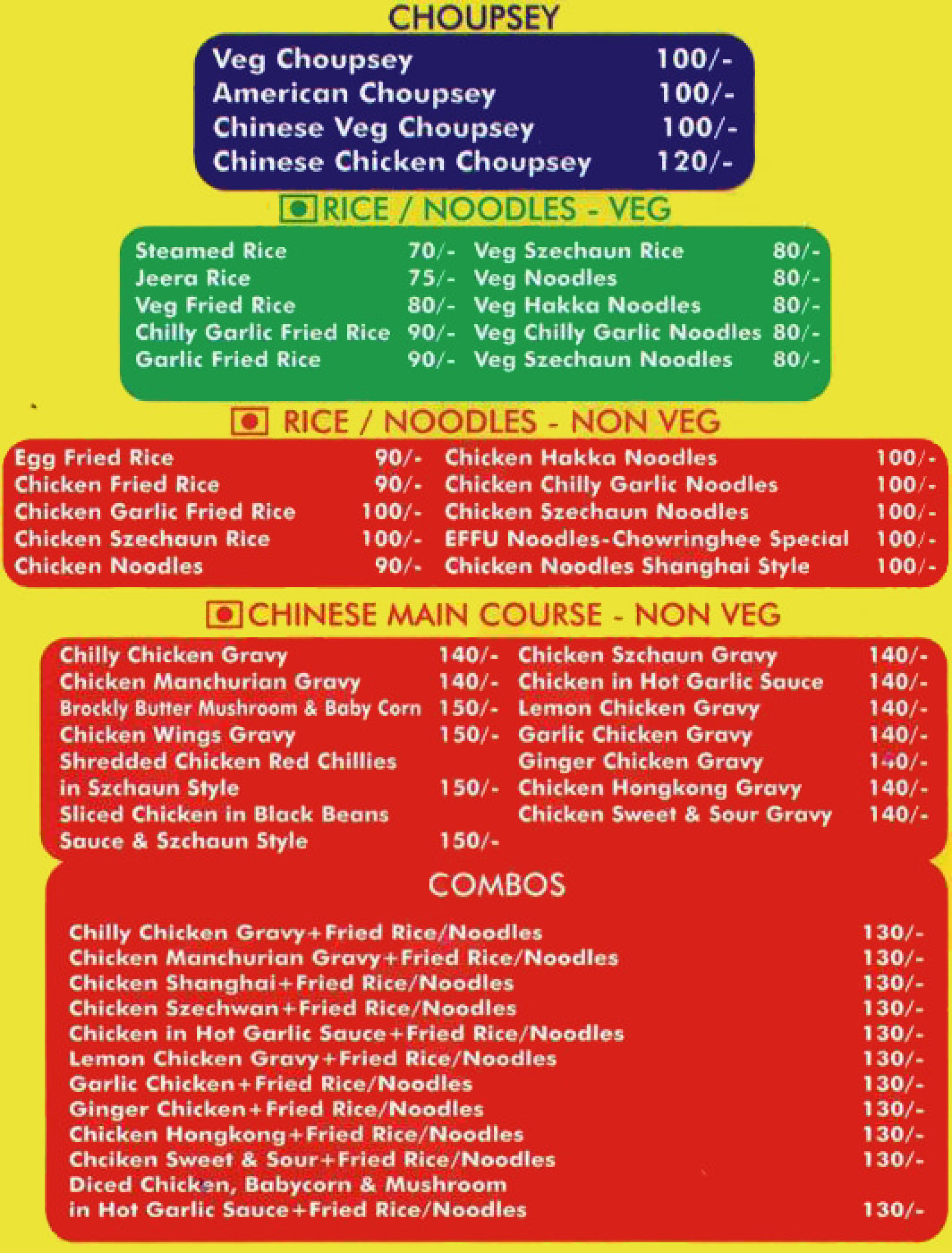 Menu of the Chowringhee