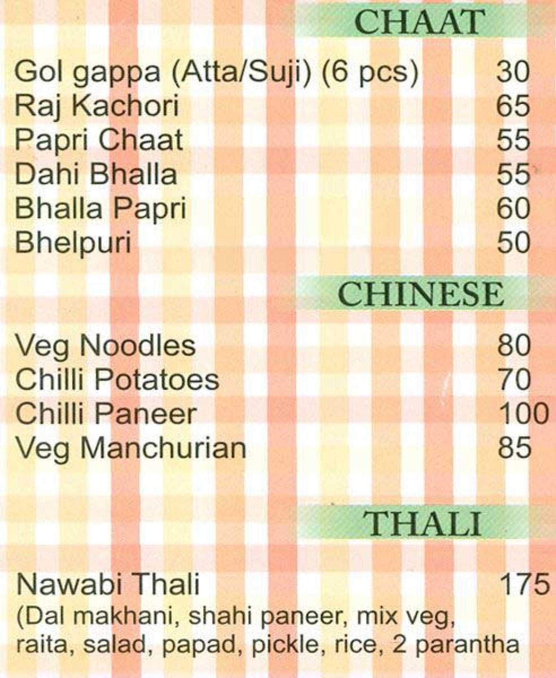 Menu of the Kanwarji's