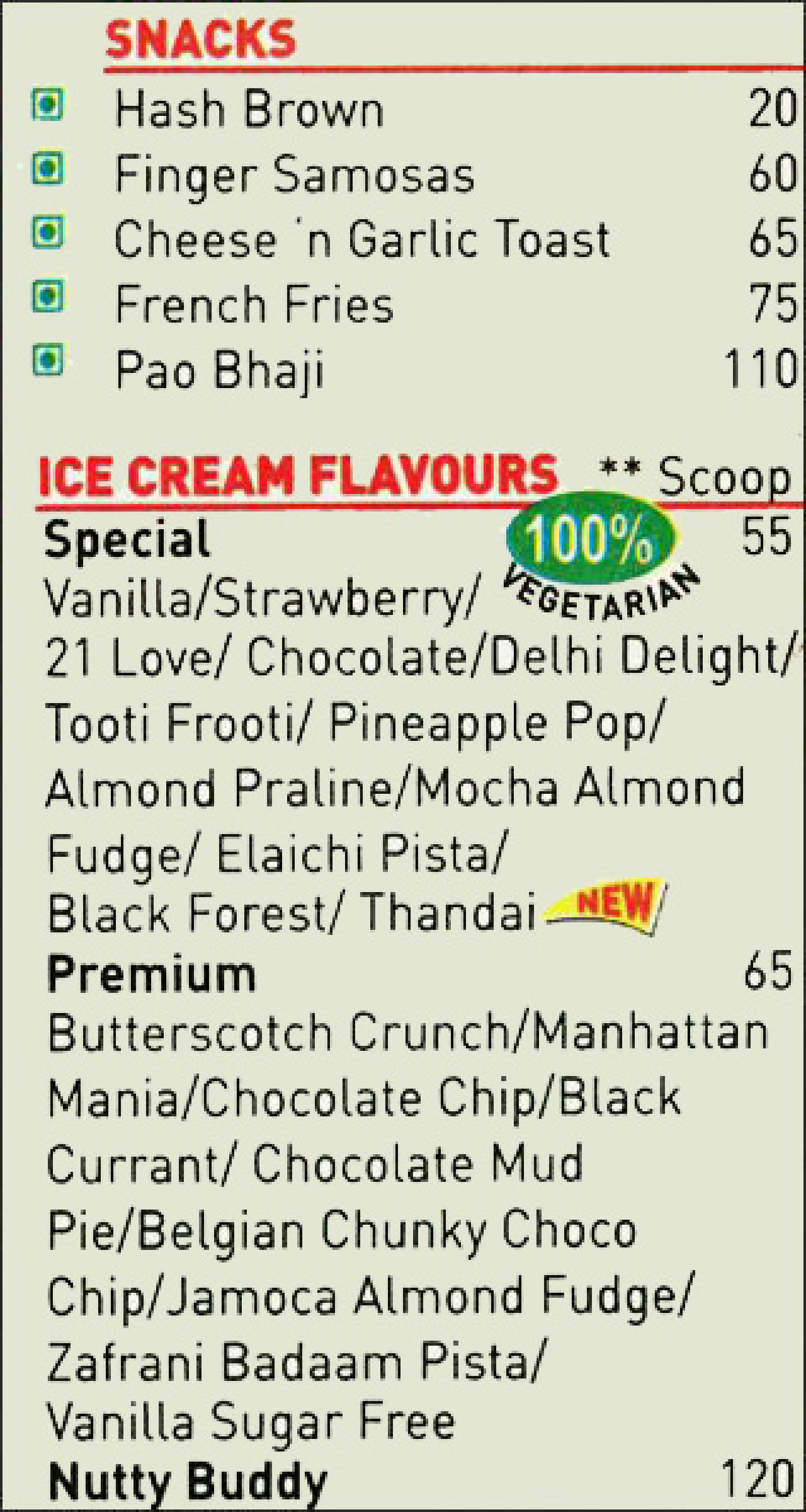 Menu of the Nirula's Express