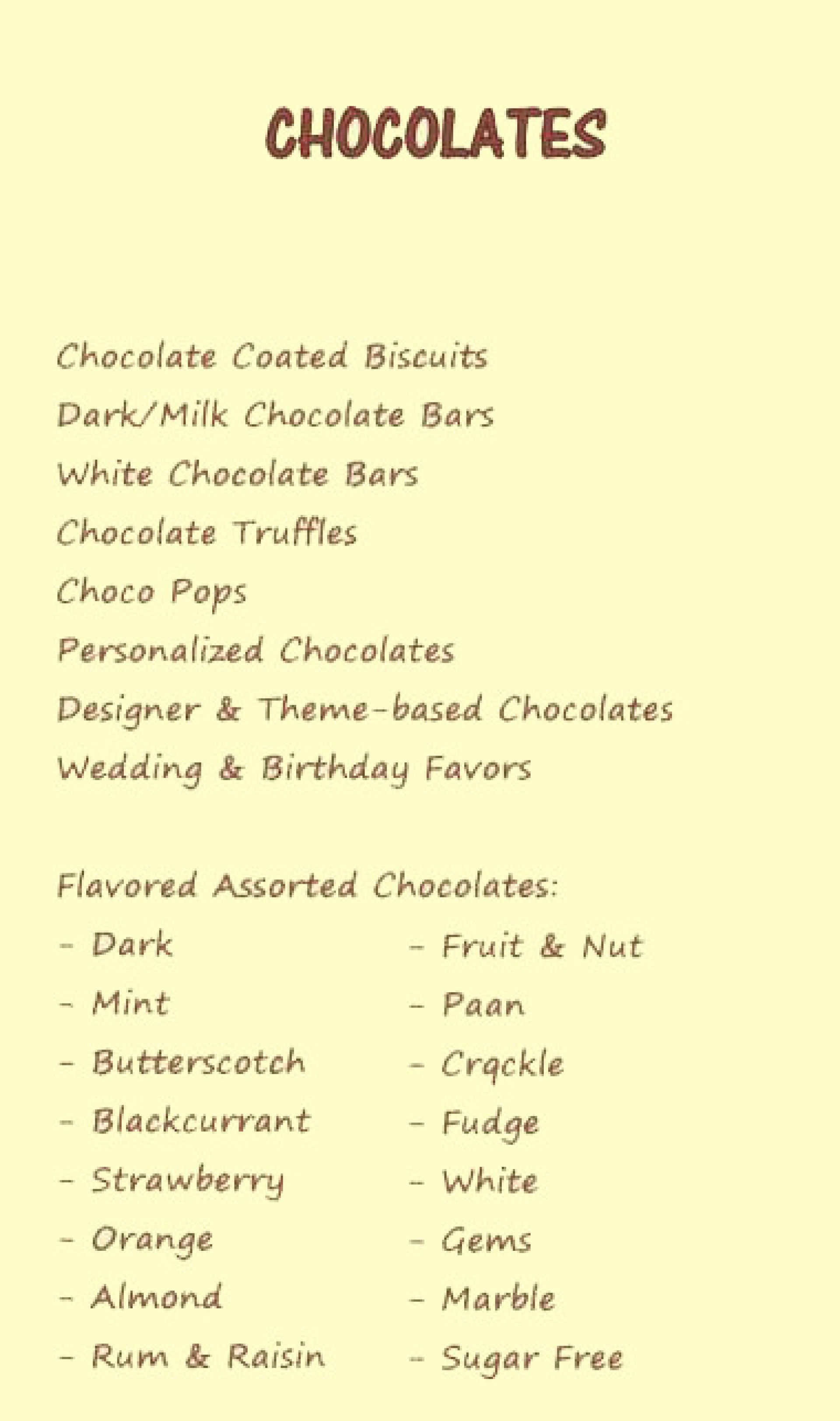Menu of the The Chocolate Haven