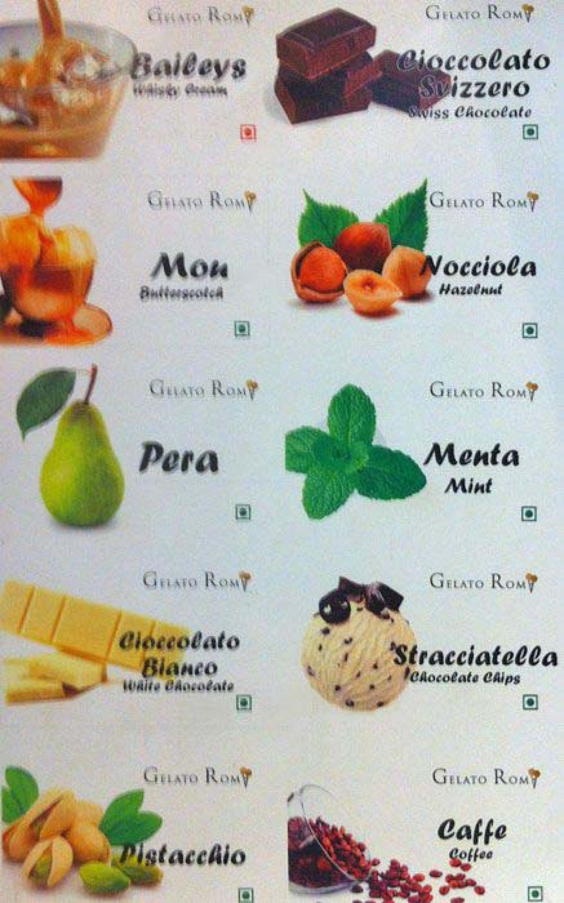 Menu of the Gelato Roma