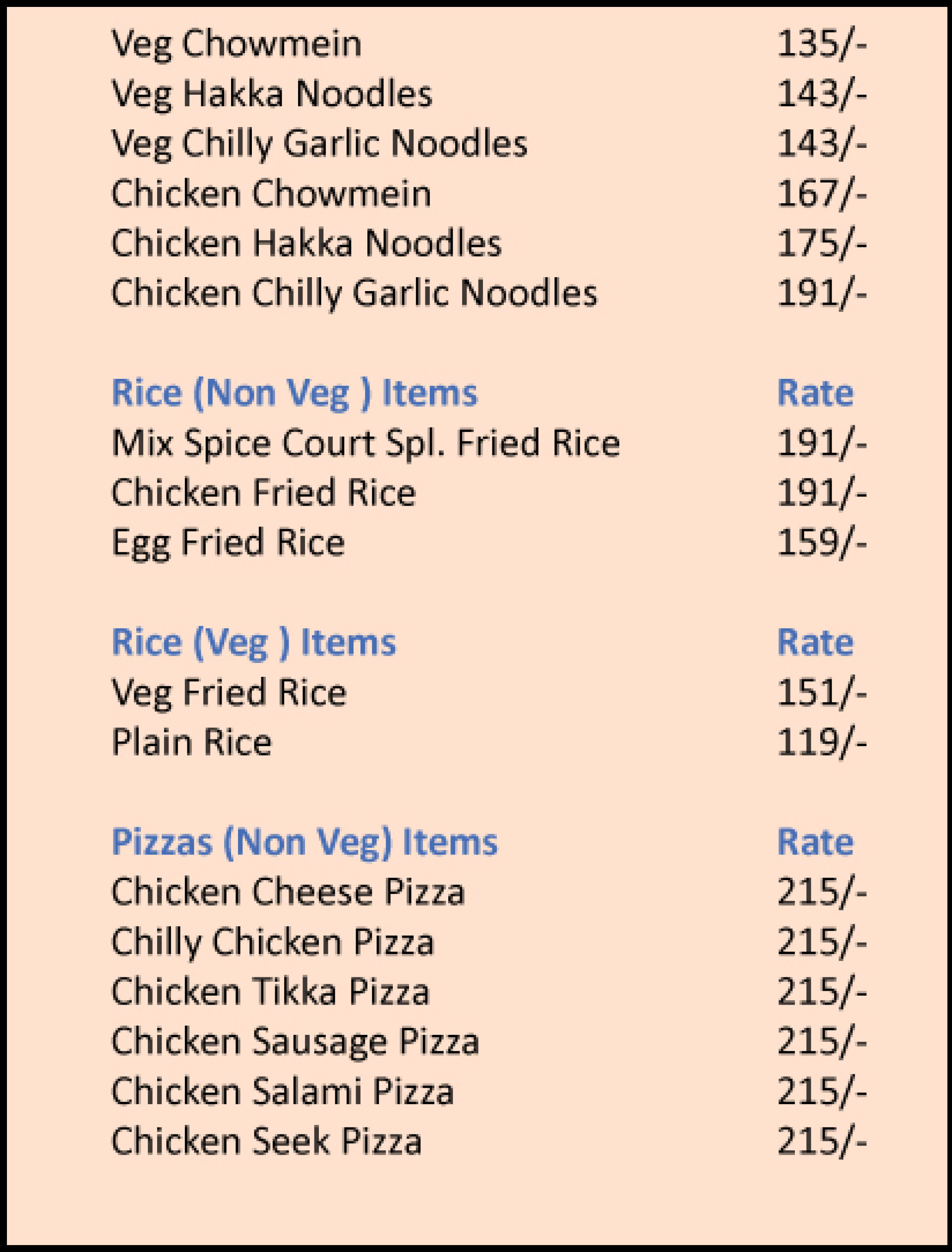 Menu of the Spice Court