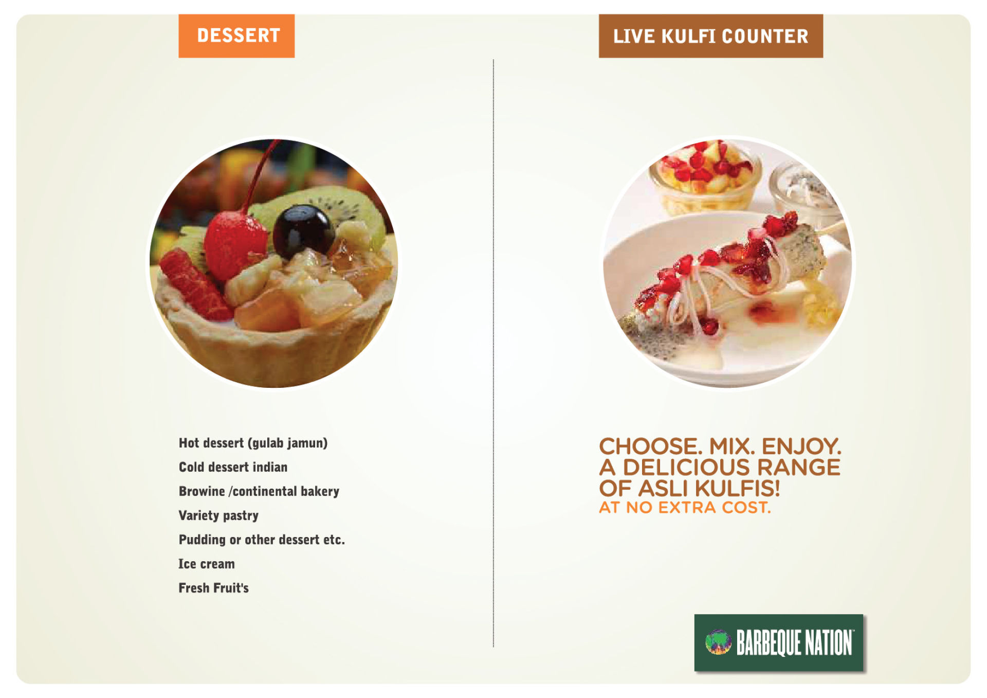 Menu of the Barbeque Nation