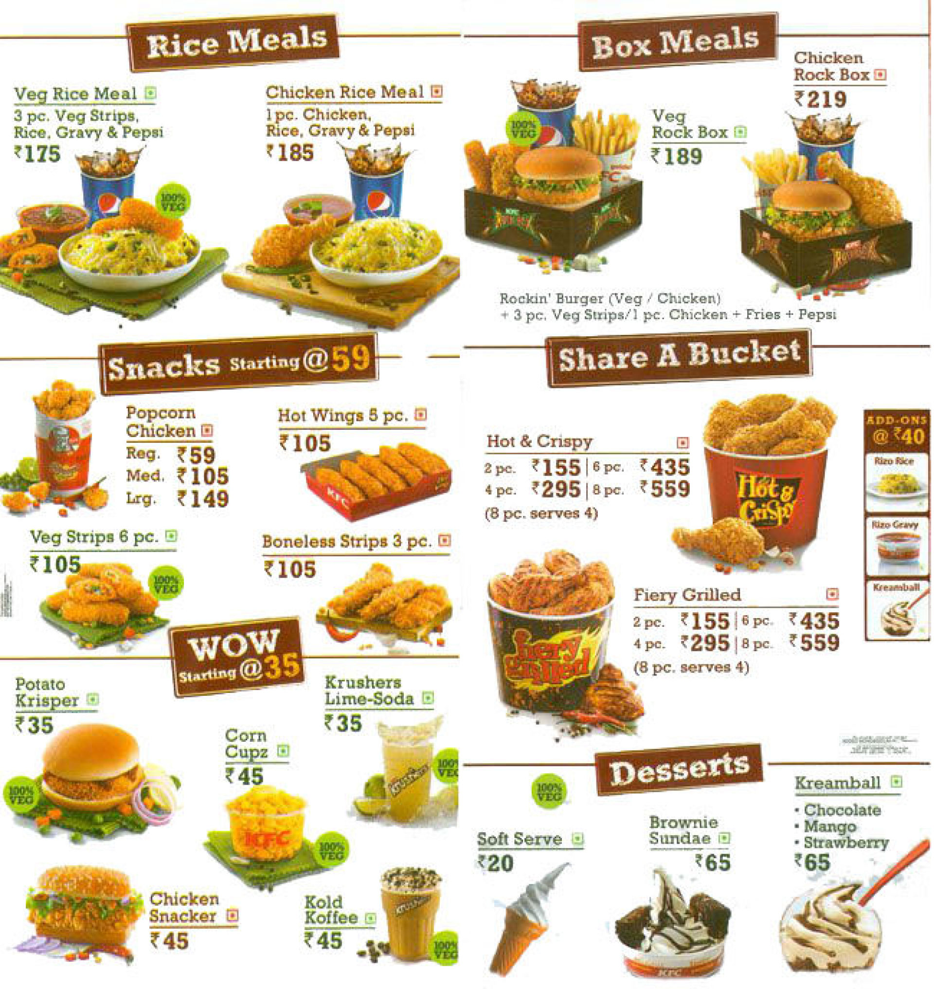 Menu of the KFC