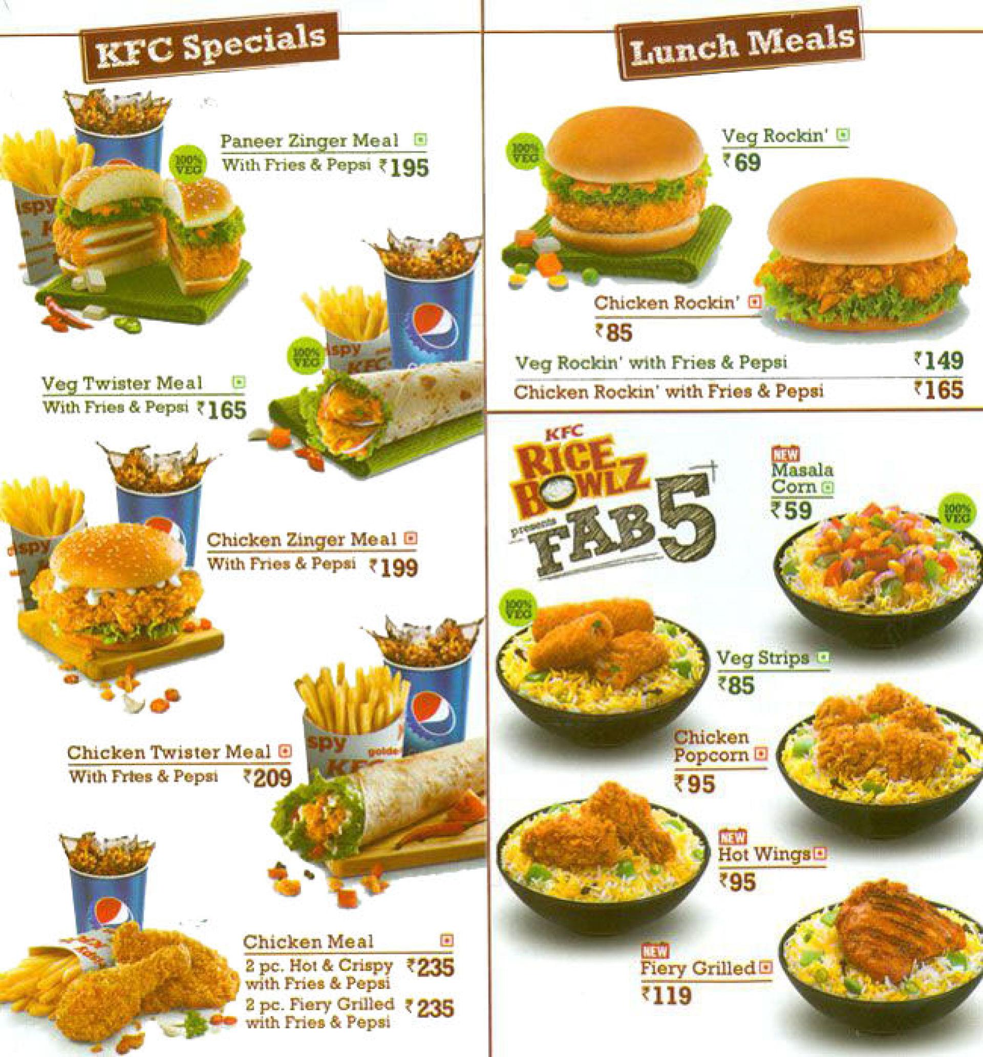 Menu of the KFC