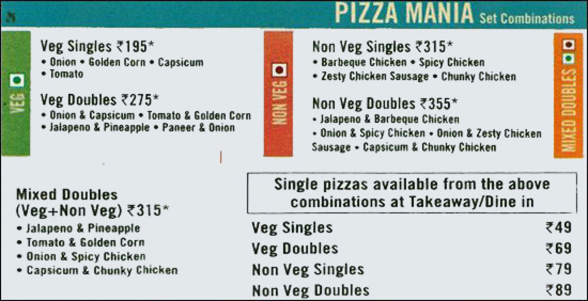 Menu of the Domino's Pizza