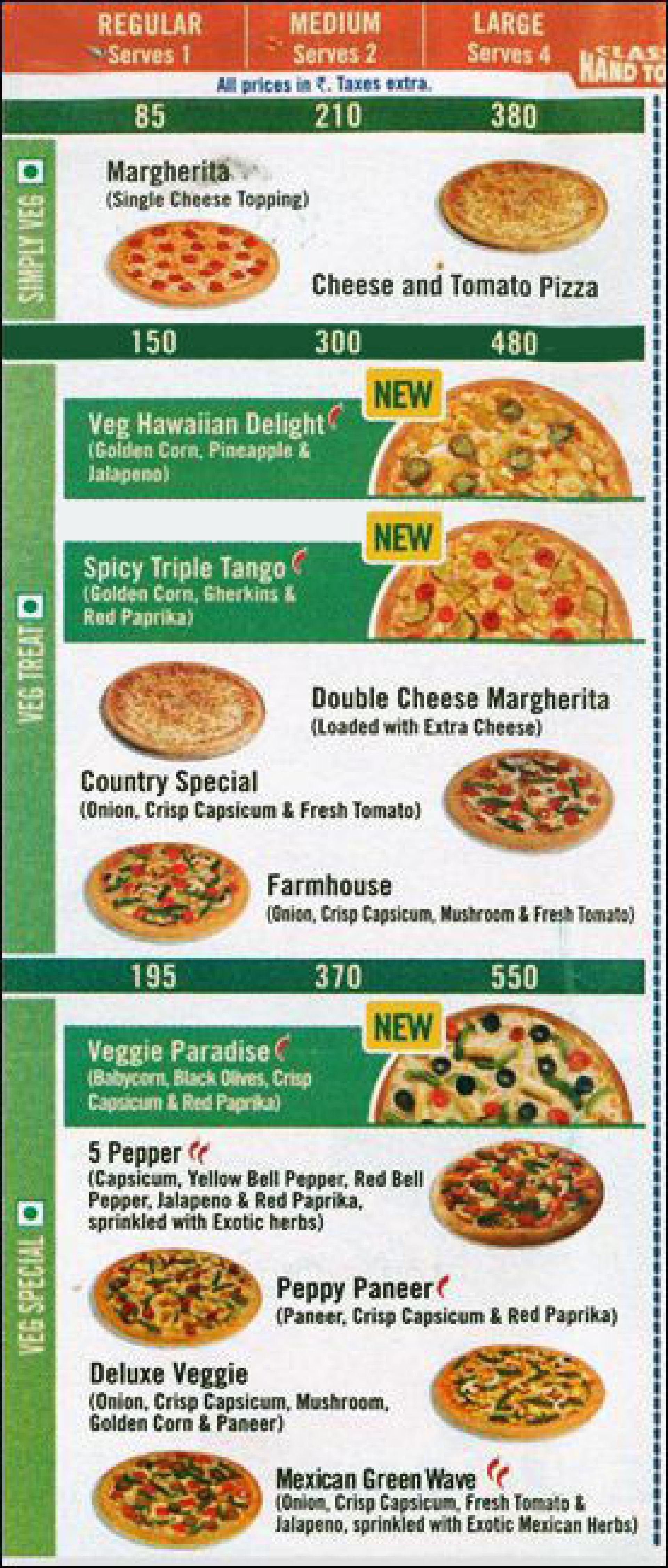 Menu of the Domino's Pizza