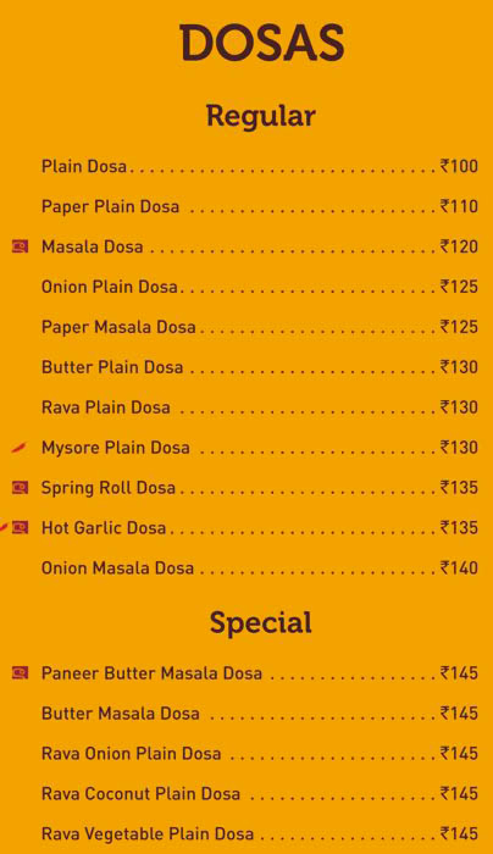 Menu of the Sagar Ratna