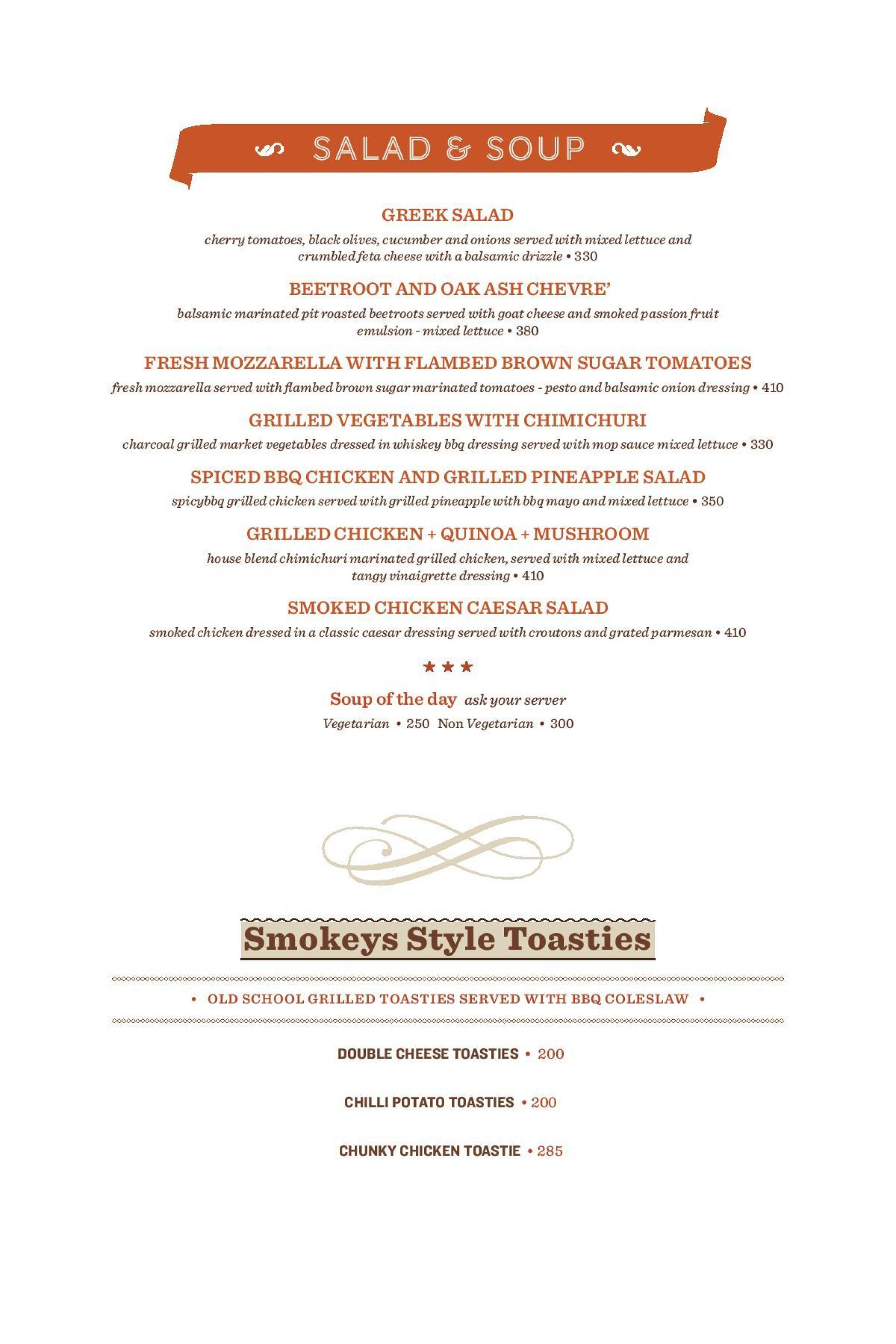 Menu of the Smokey's BBQ and Grill
