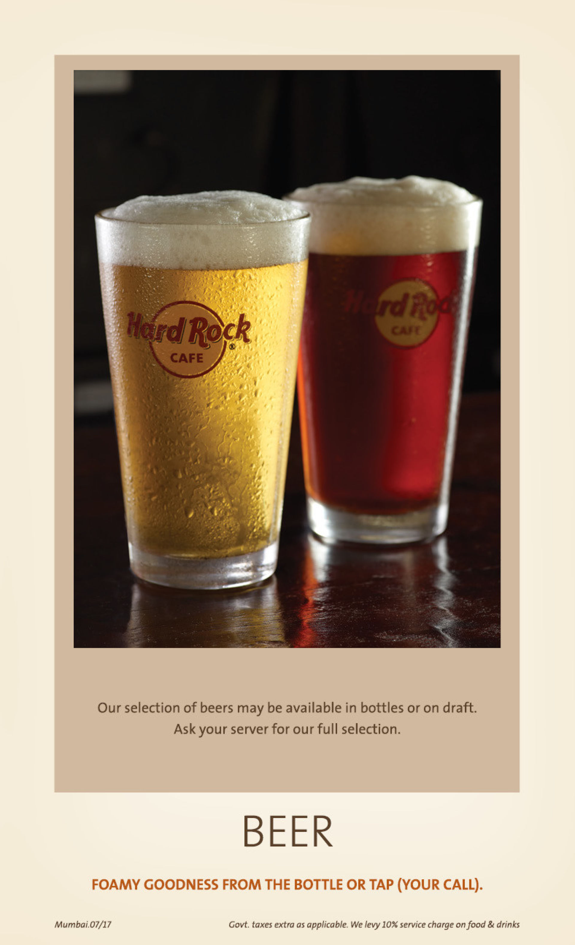 Menu of the Hard Rock Cafe