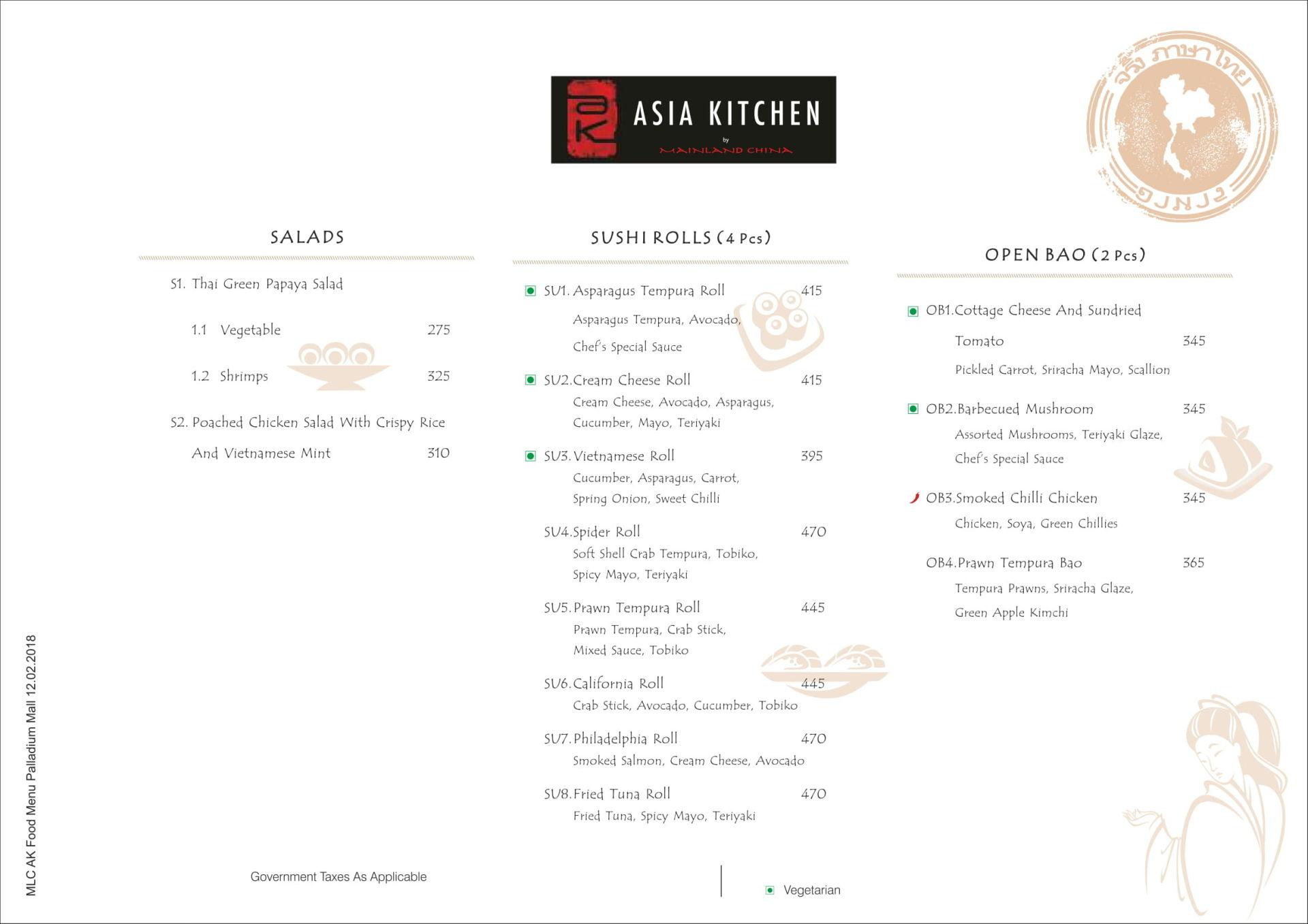 Menu of Asia Kitchen By Mainland China, Palladium Mall, Lower Parel ...