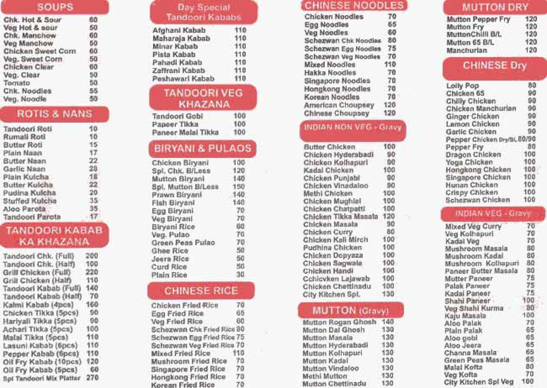 Menu of New City Kitchen, Rammurthy Nagar, North Bengaluru ...