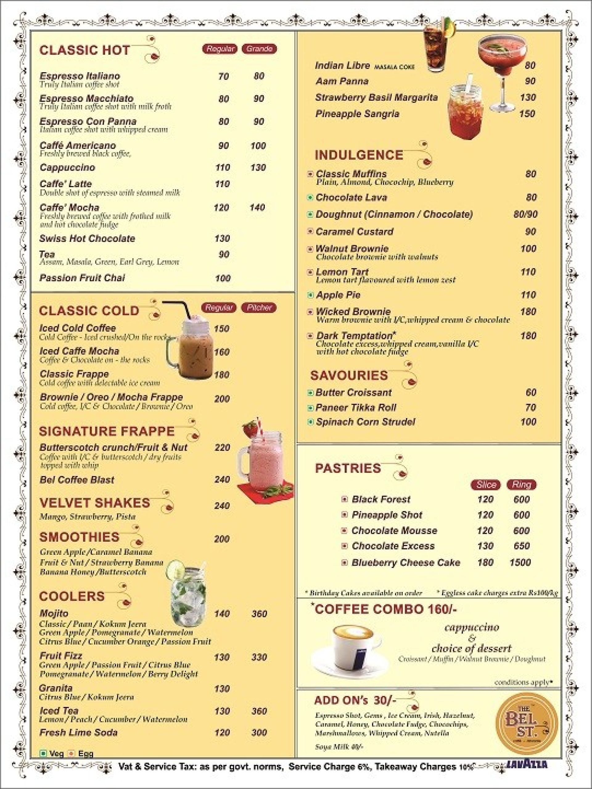 Menu of the The Bel St.