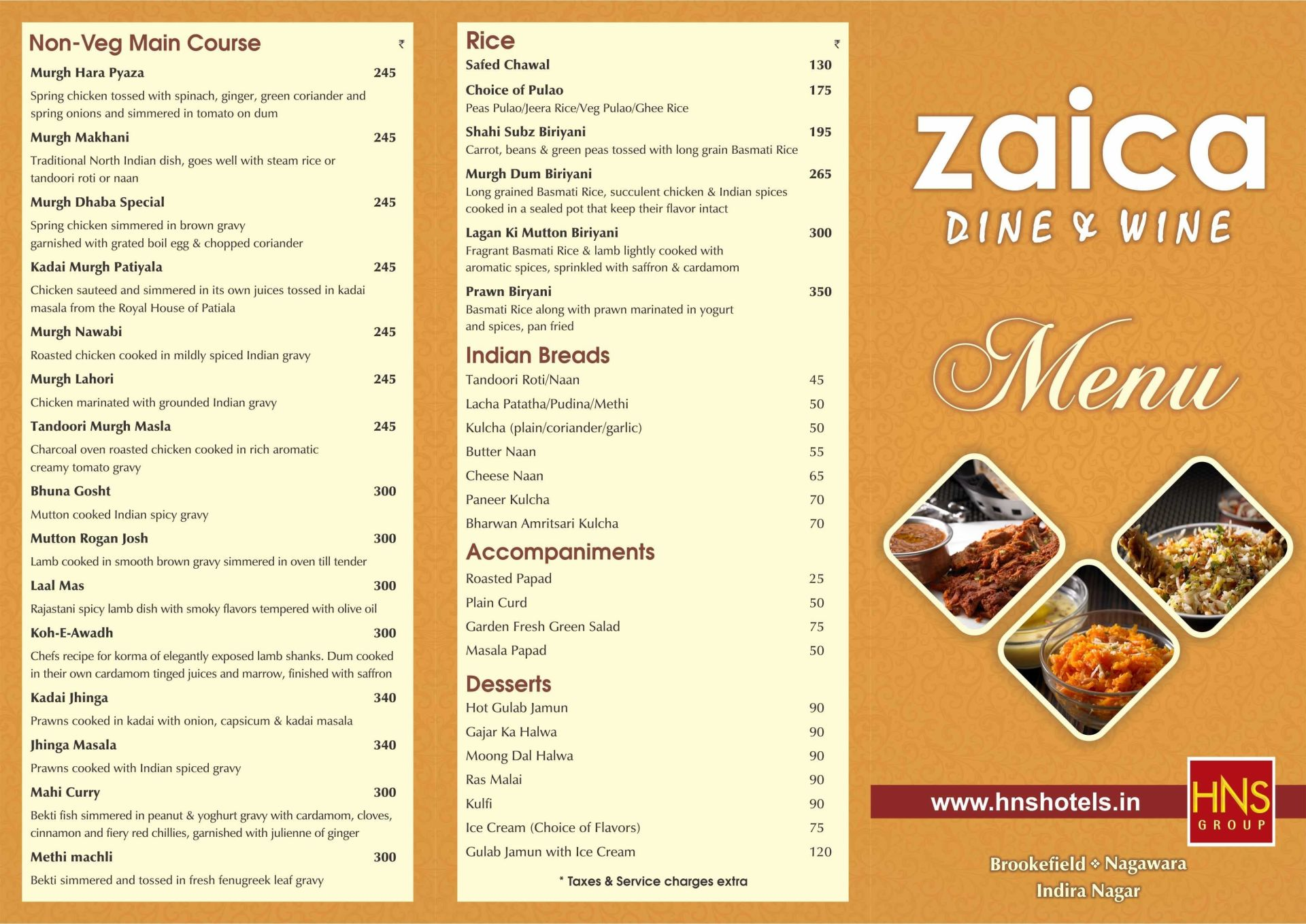 Menu of the Zaica Dine and Wine