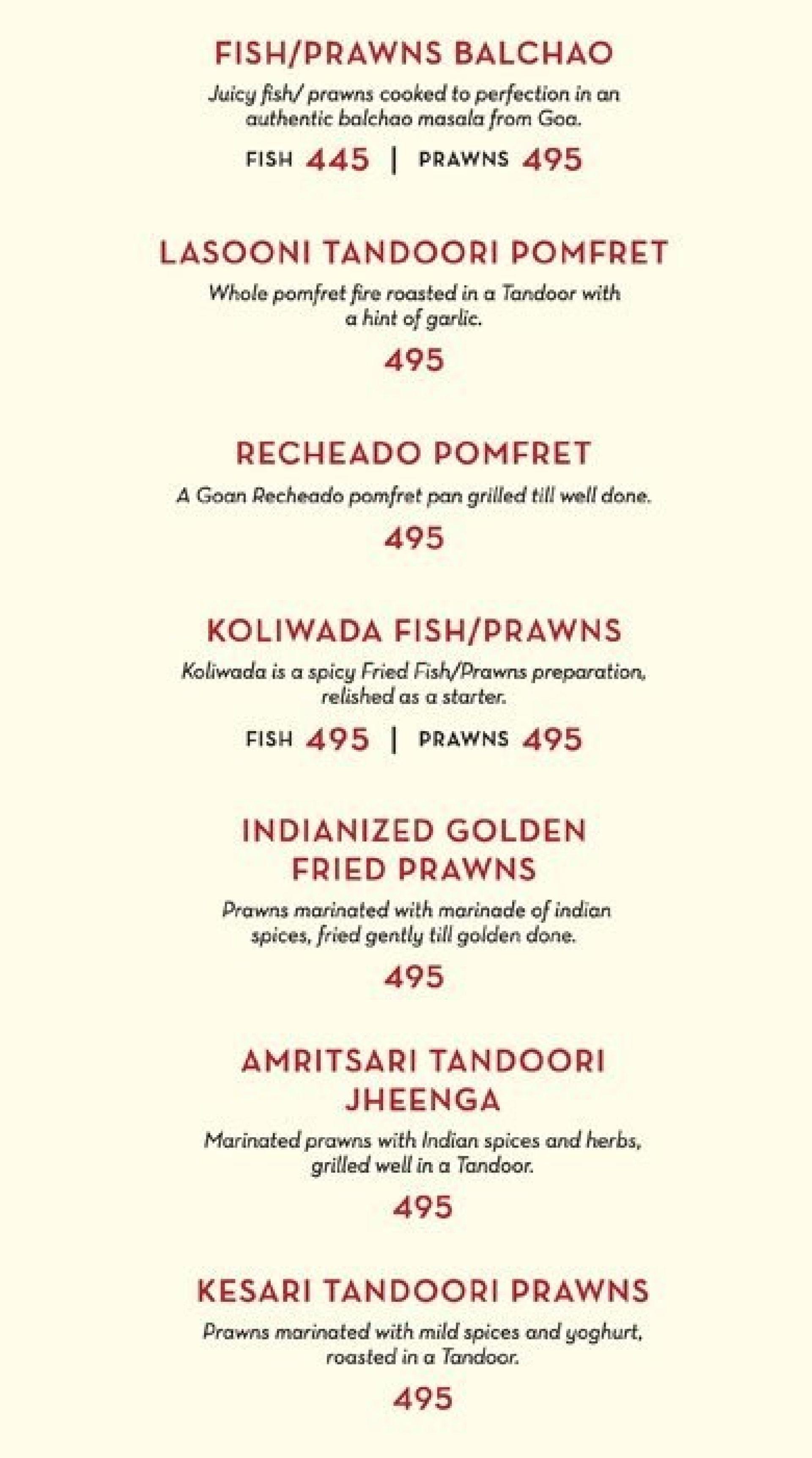 Menu of the Zaheer Khans Dine Fine