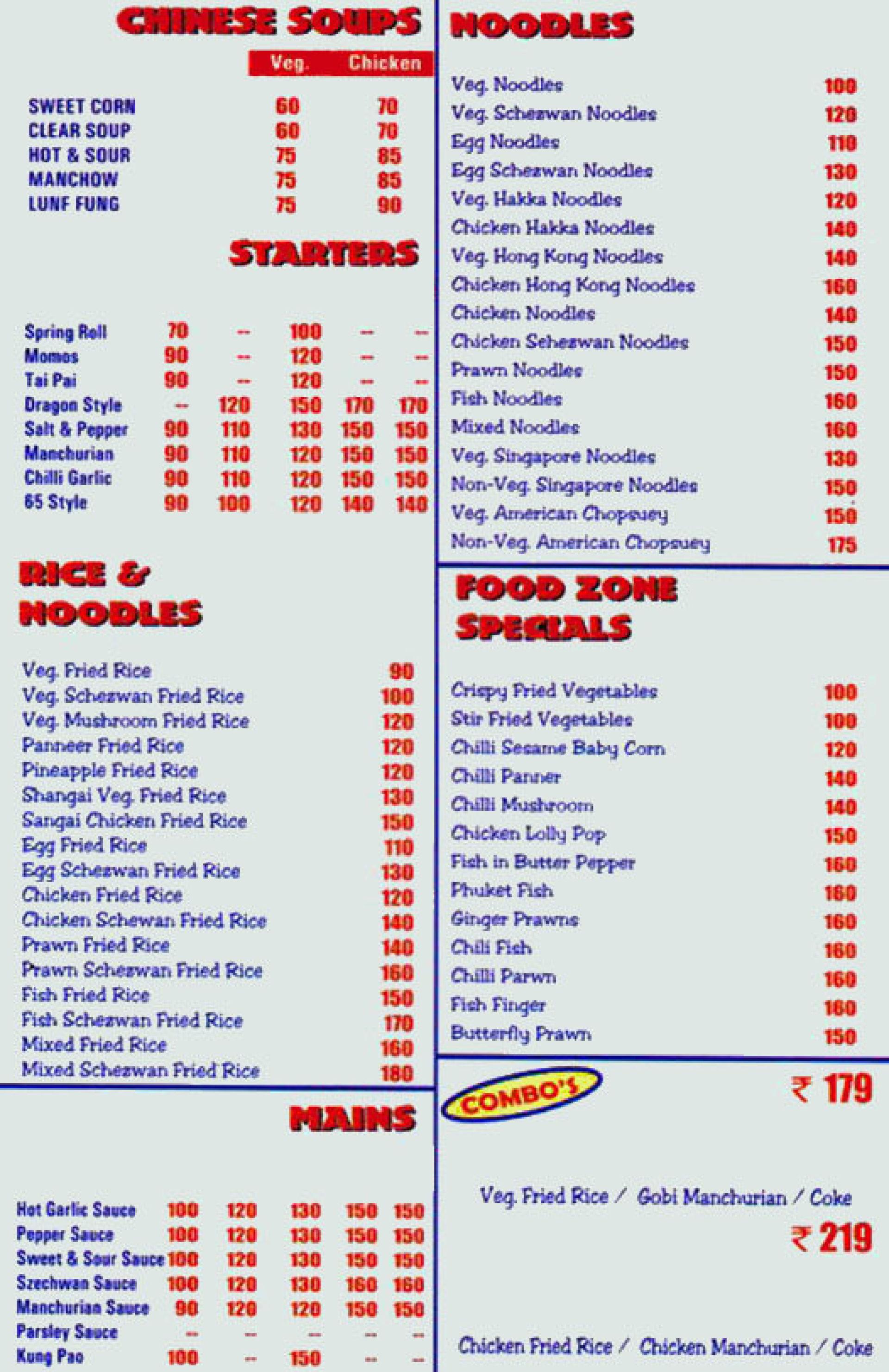Menu of food zone mahindra world city chennai eazydiner menu of the food zone gumiabroncs Images