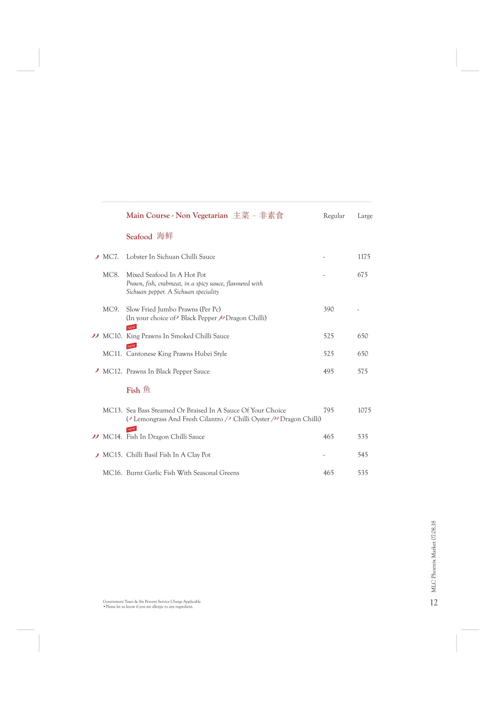 Menu of the Mainland China