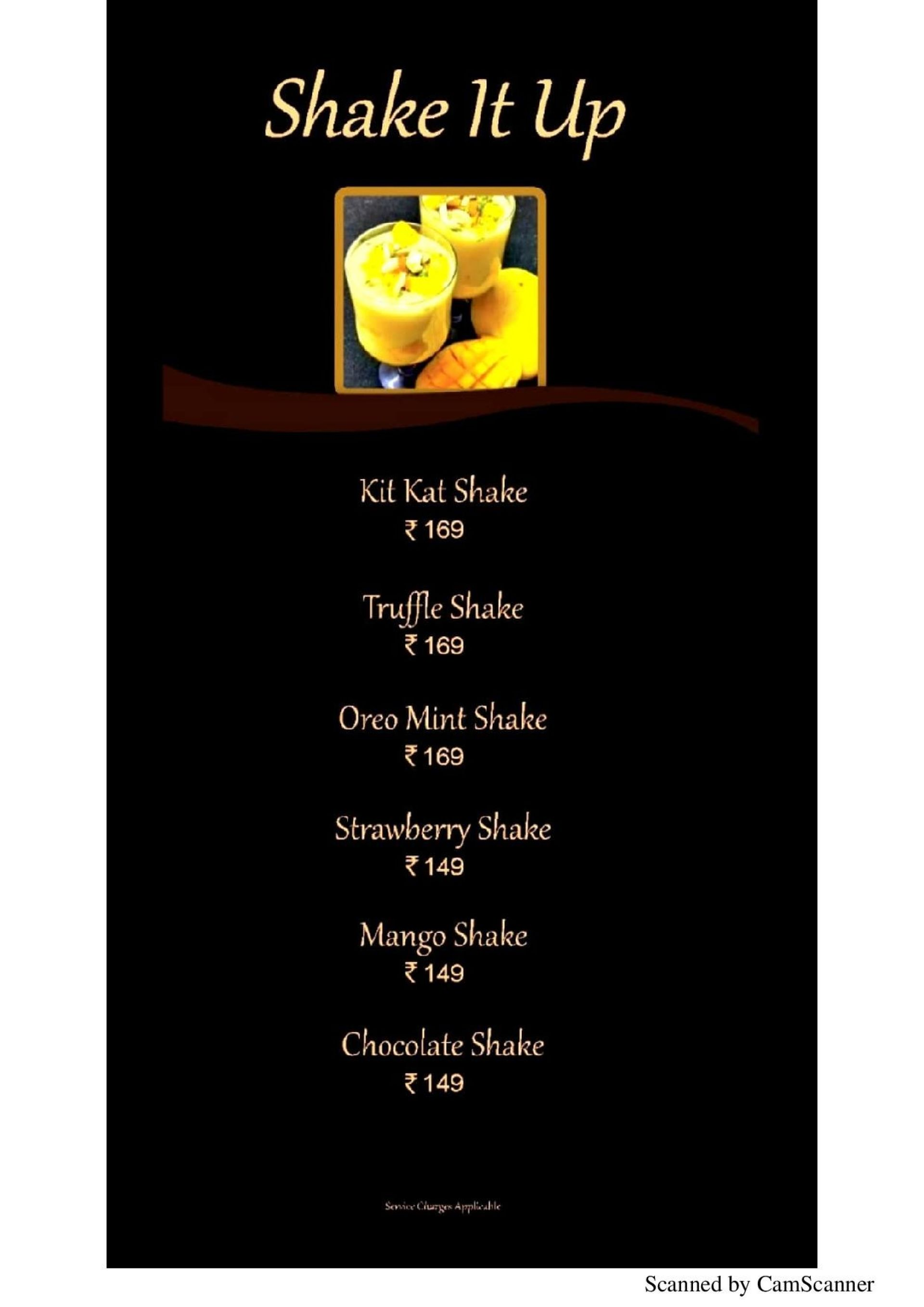 Menu of the Aqua Java Plush