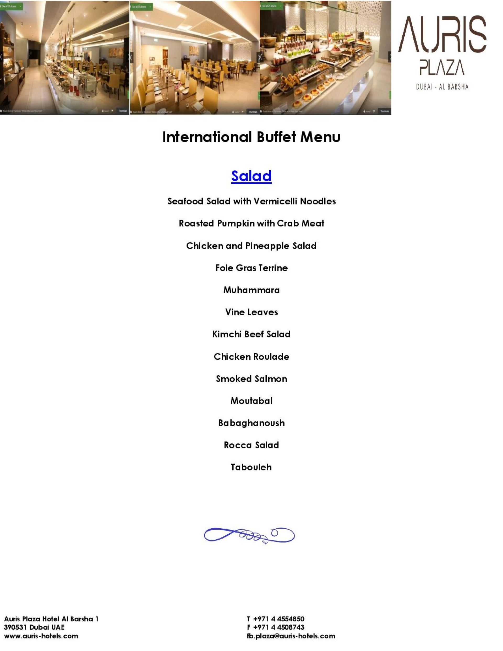 Menu of the Didon Restaurant
