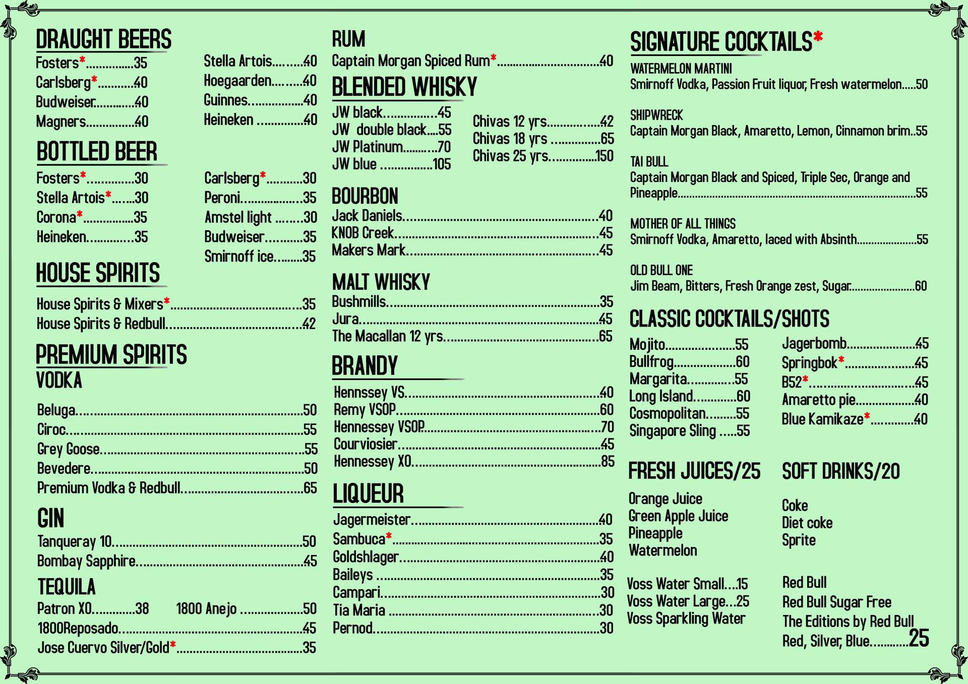 Menu of the The Old Bull Pub