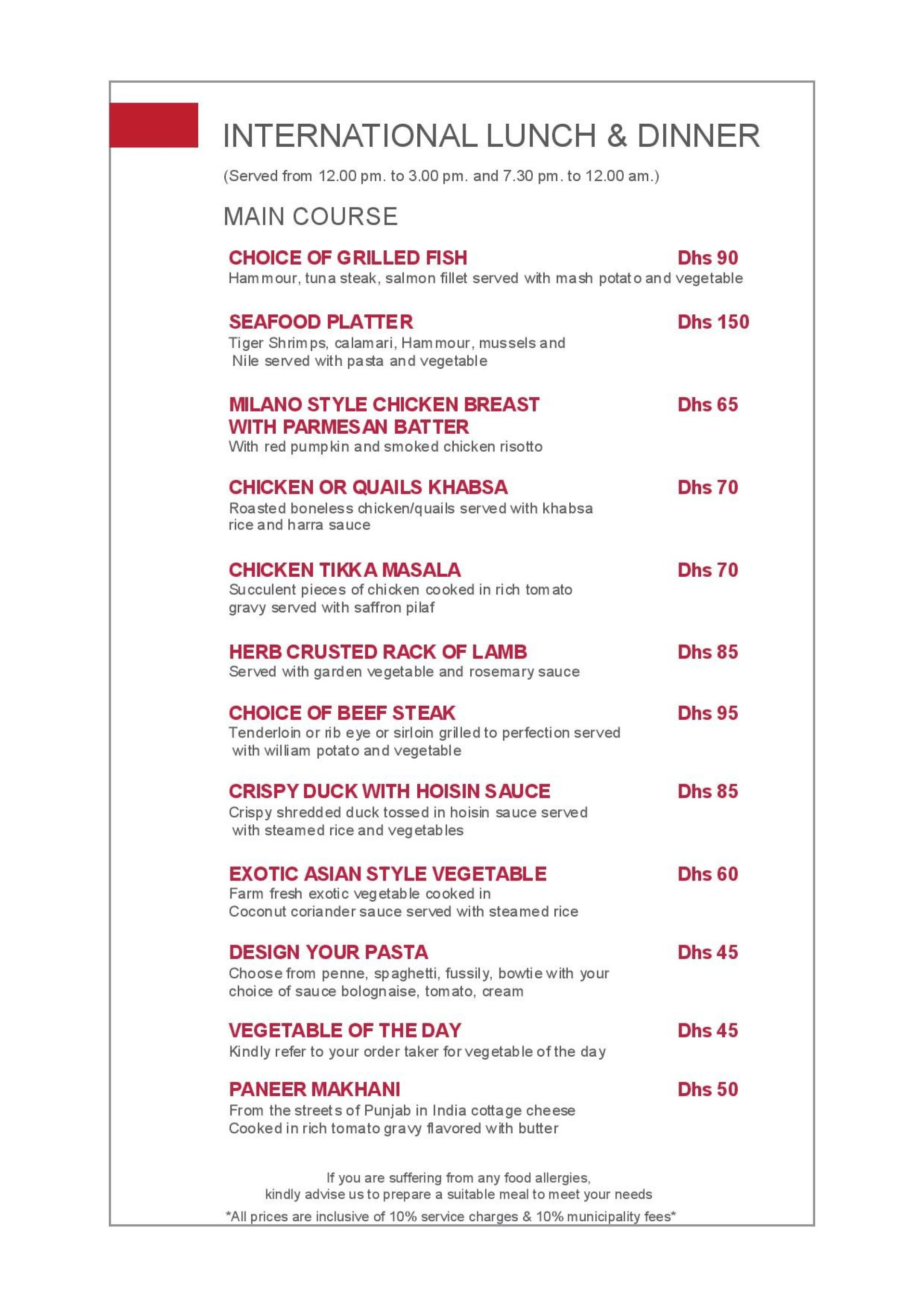 Menu of the Seasons All Day Dining
