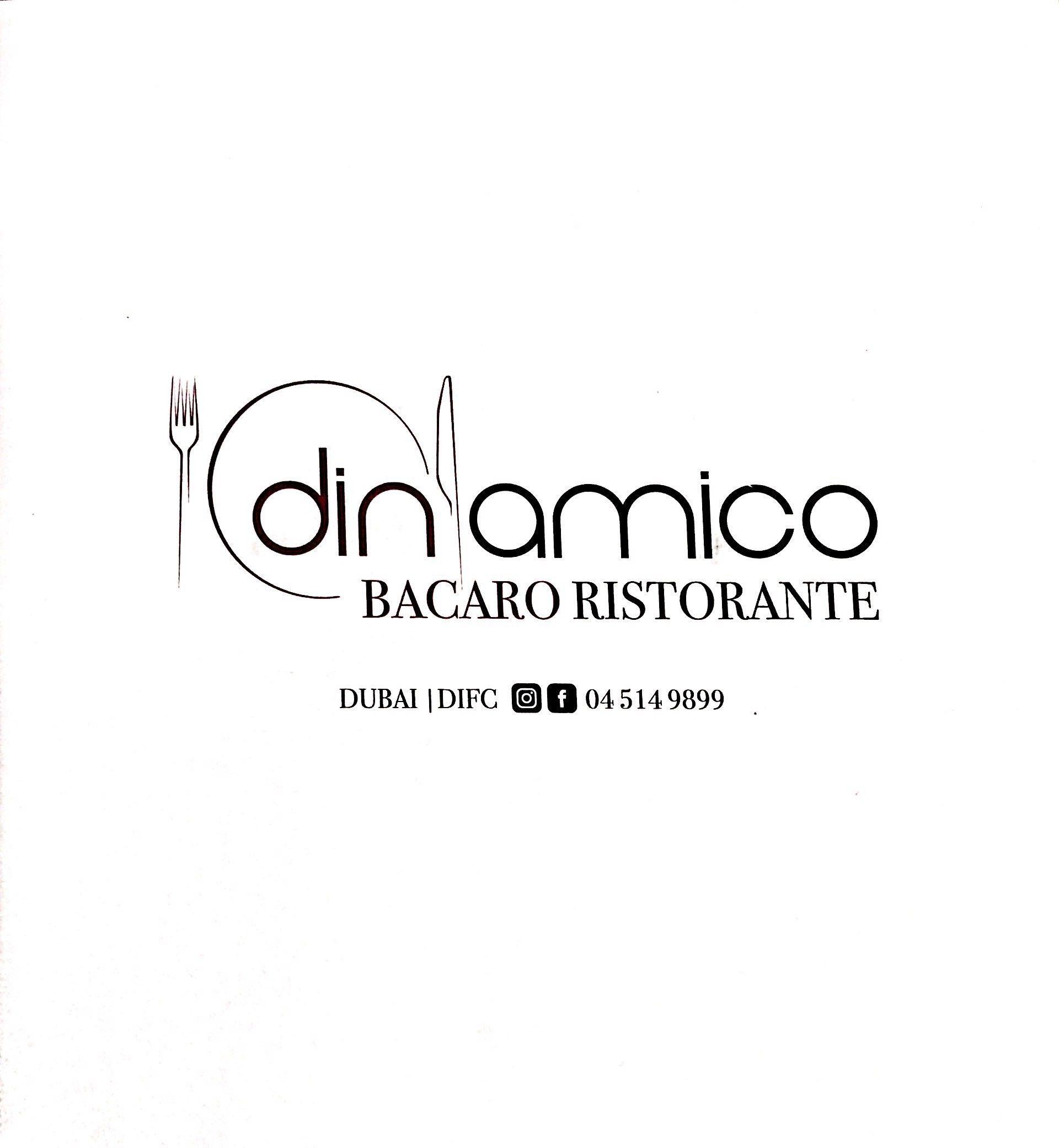 Menu of the Dinamico Restaurant