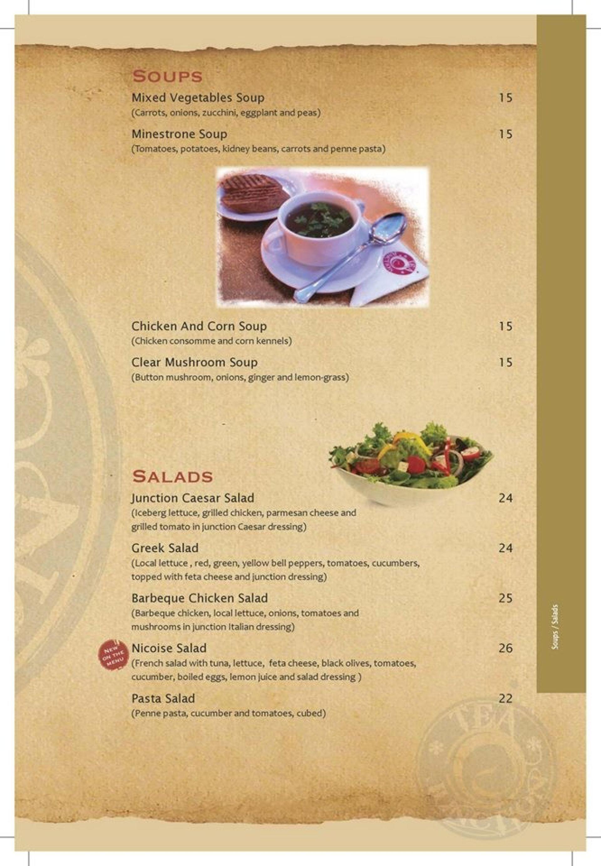 Menu of the Tea Junction Cafe