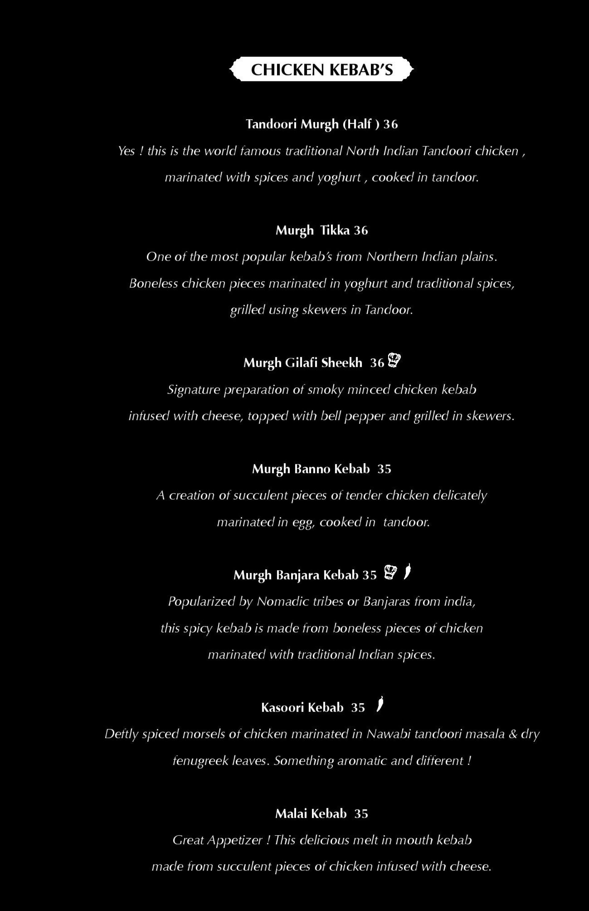 Menu of the 25 Degrees North