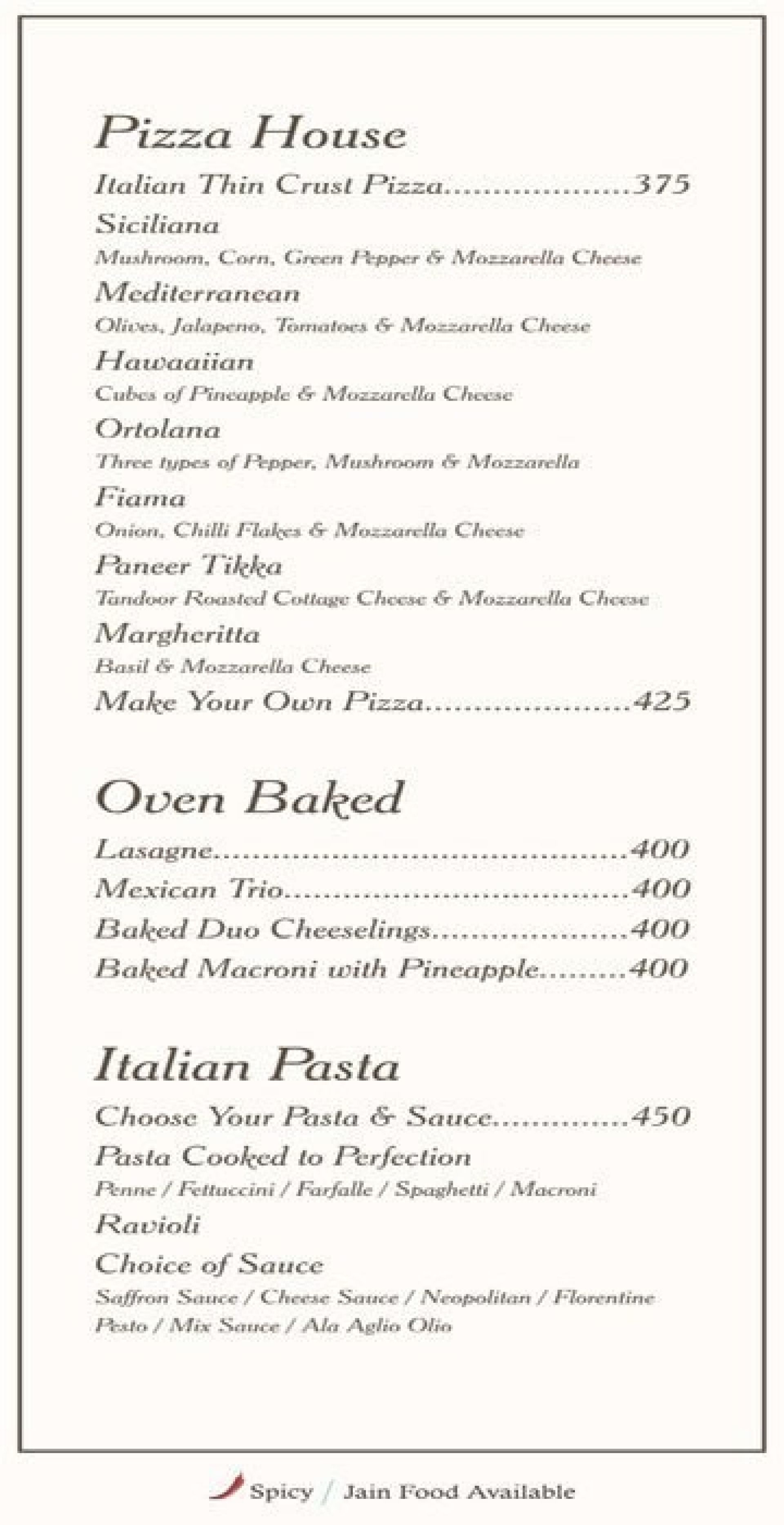 Menu of Page One Restaurant, Hotel Page One, Ahmedabad, Ahmedabad ...