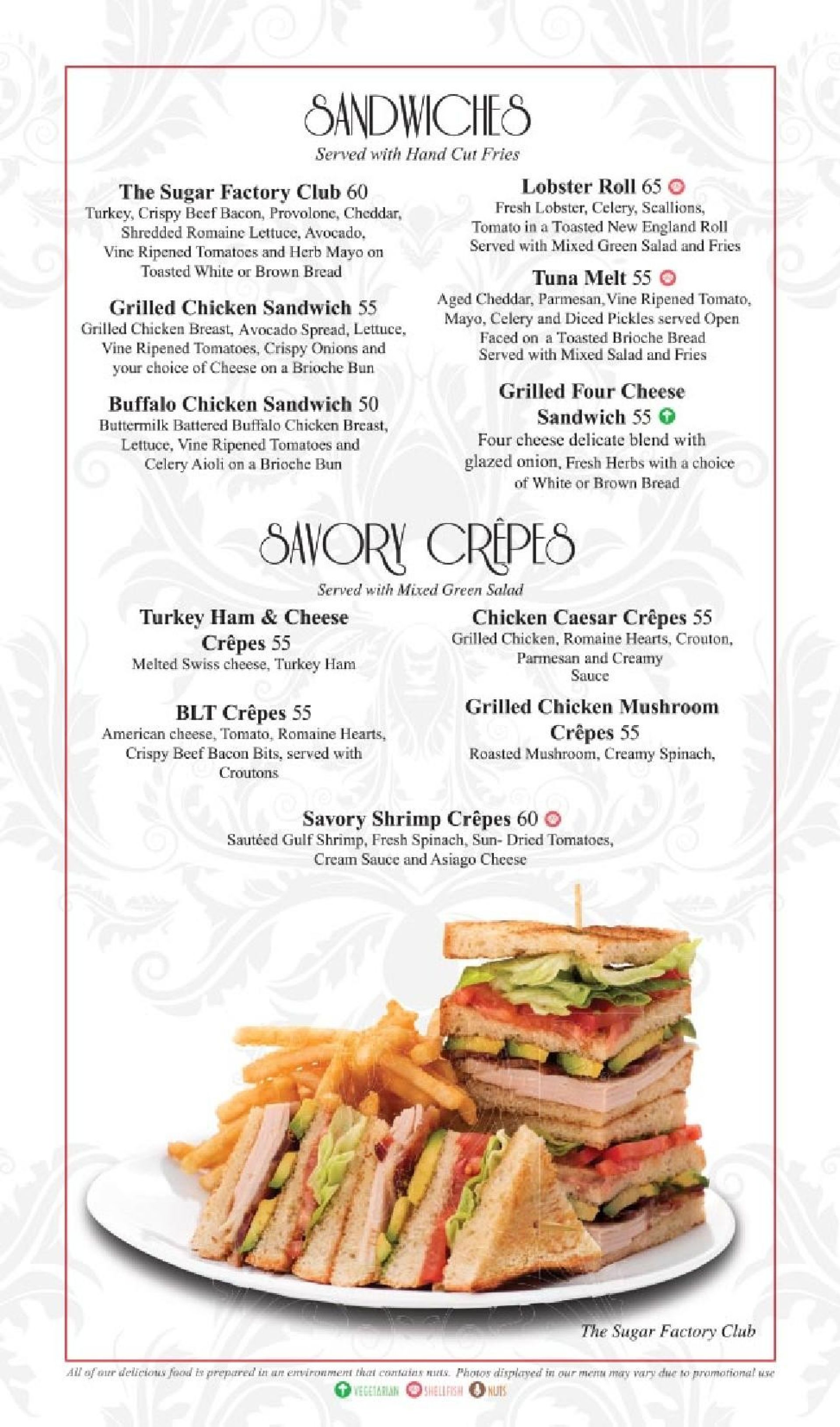 Menu of the Sugar Factory