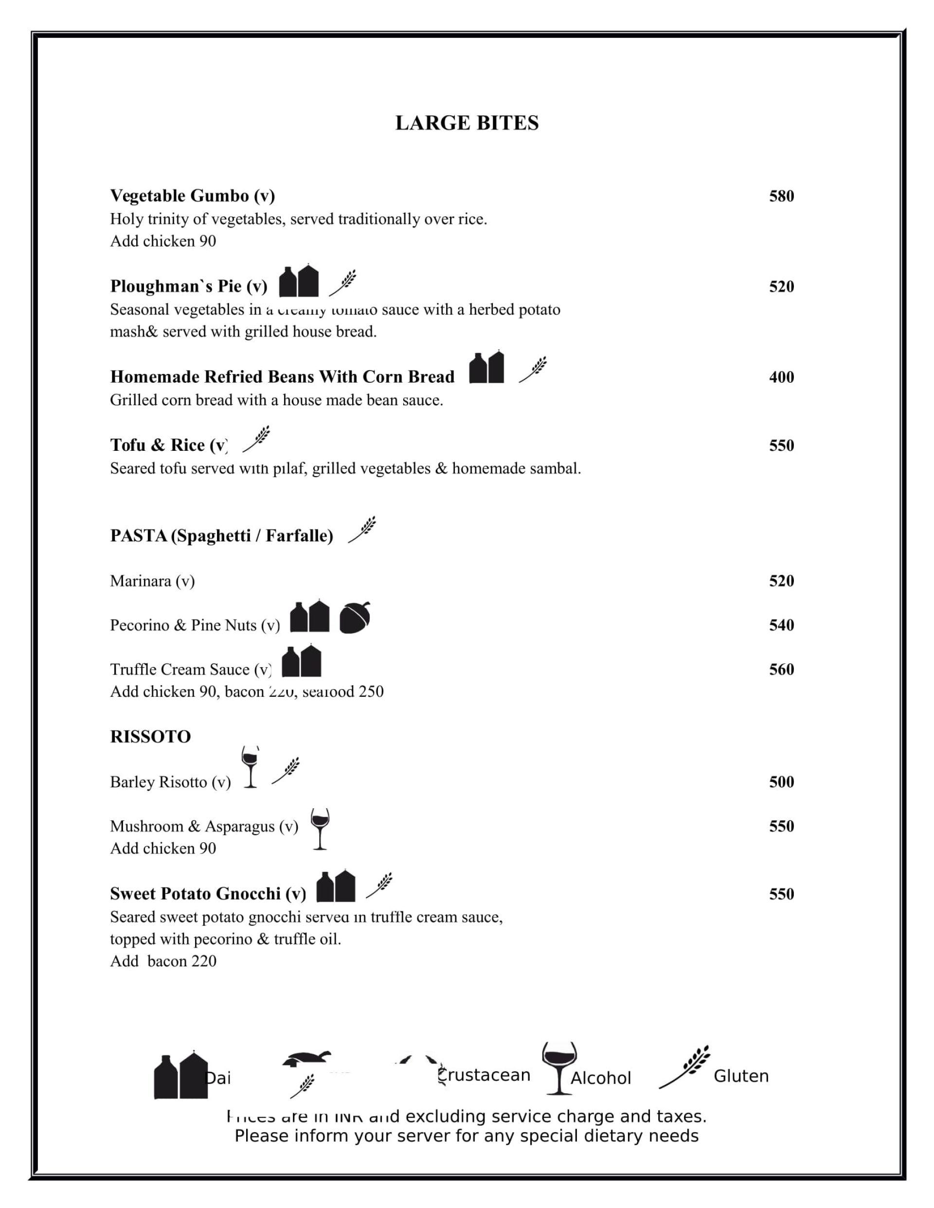 Menu of the The Benedict Bistro & Bar